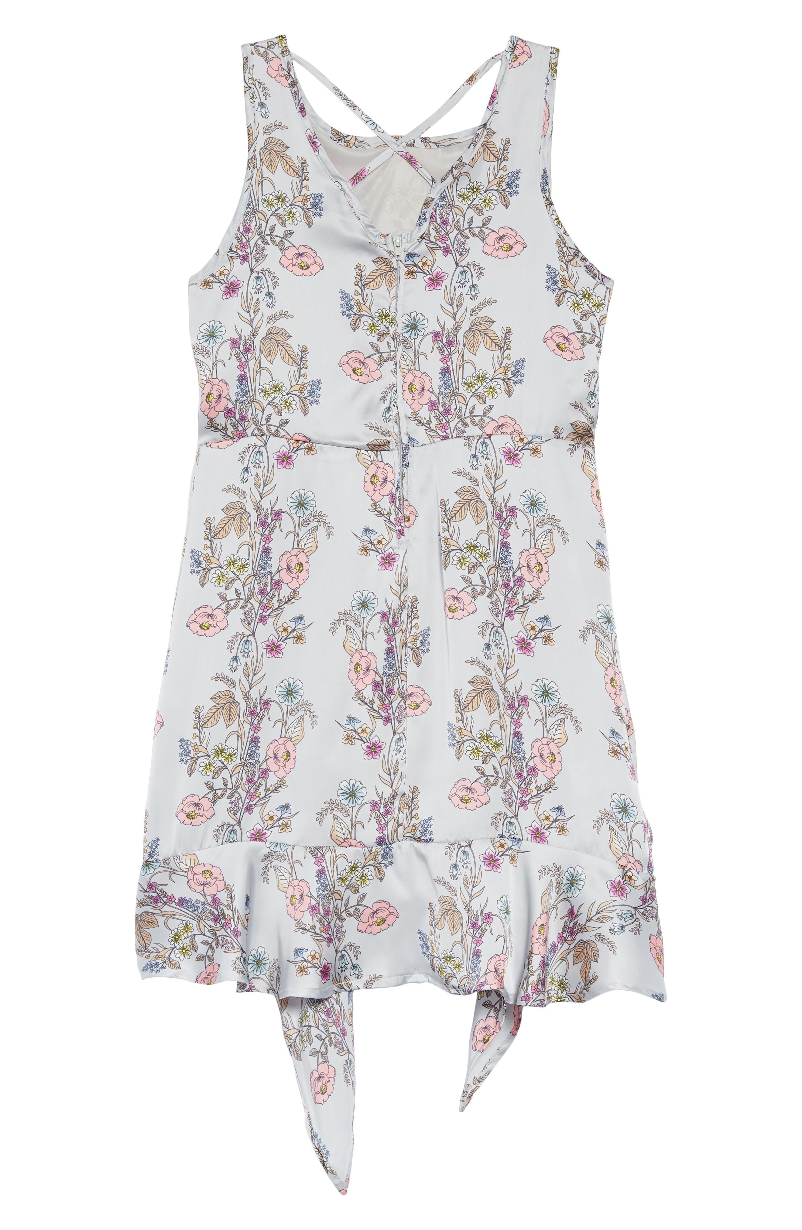 Floral Handkerchief Hem Dress,                             Alternate thumbnail 2, color,                             Grey Multi