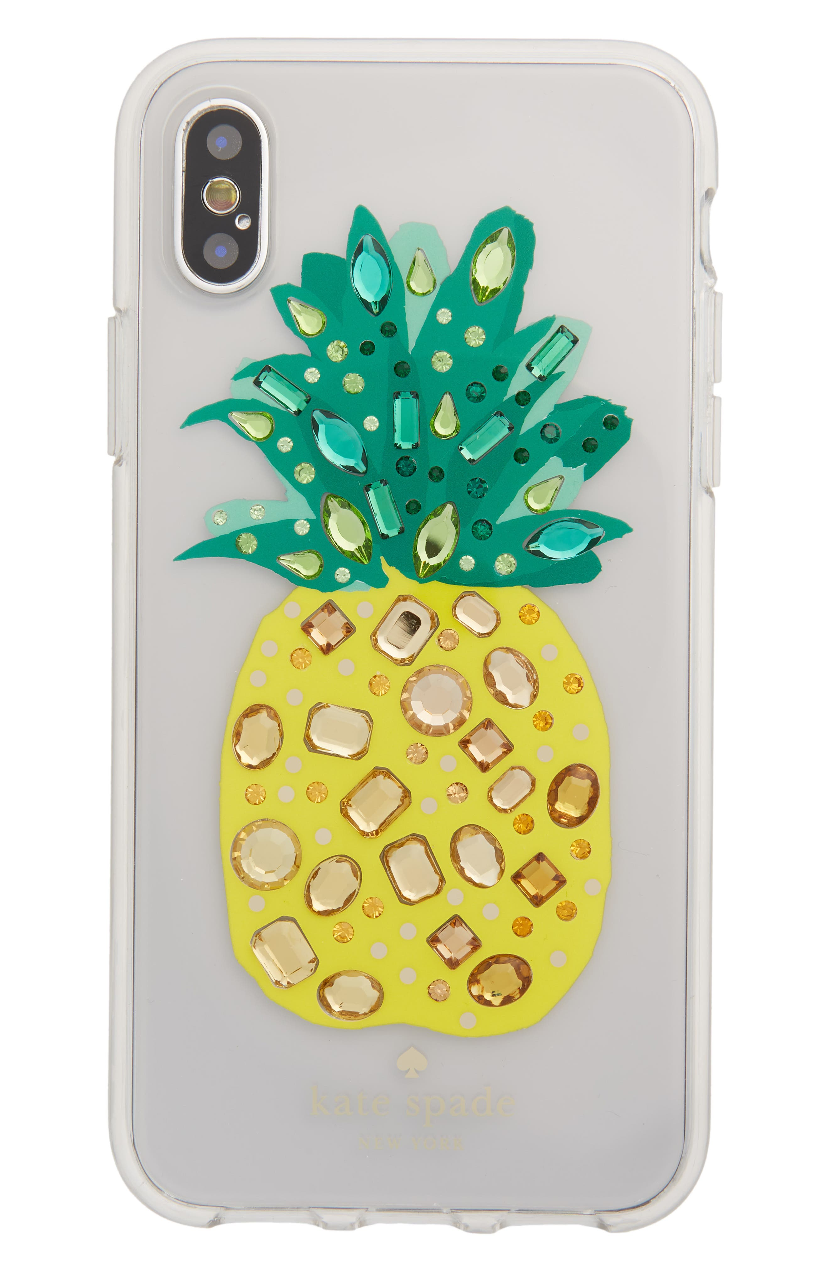 jeweled pineapple iPhone X case,                             Main thumbnail 1, color,                             Clear Multi