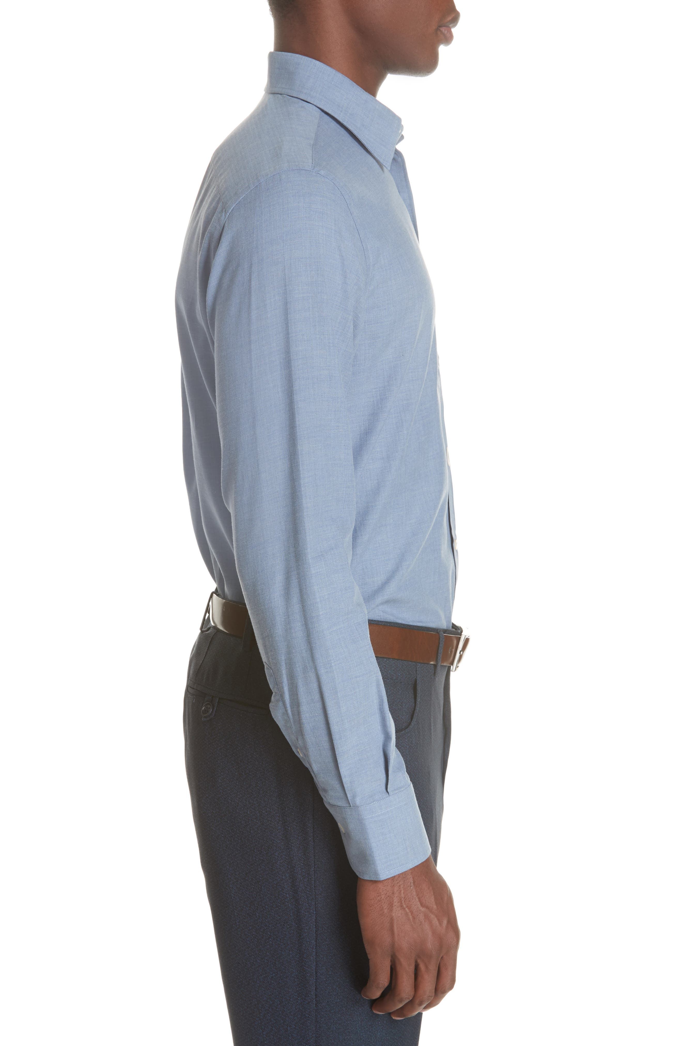 Classic Fit Herringbone Dress Shirt,                             Alternate thumbnail 6, color,                             Light Blue