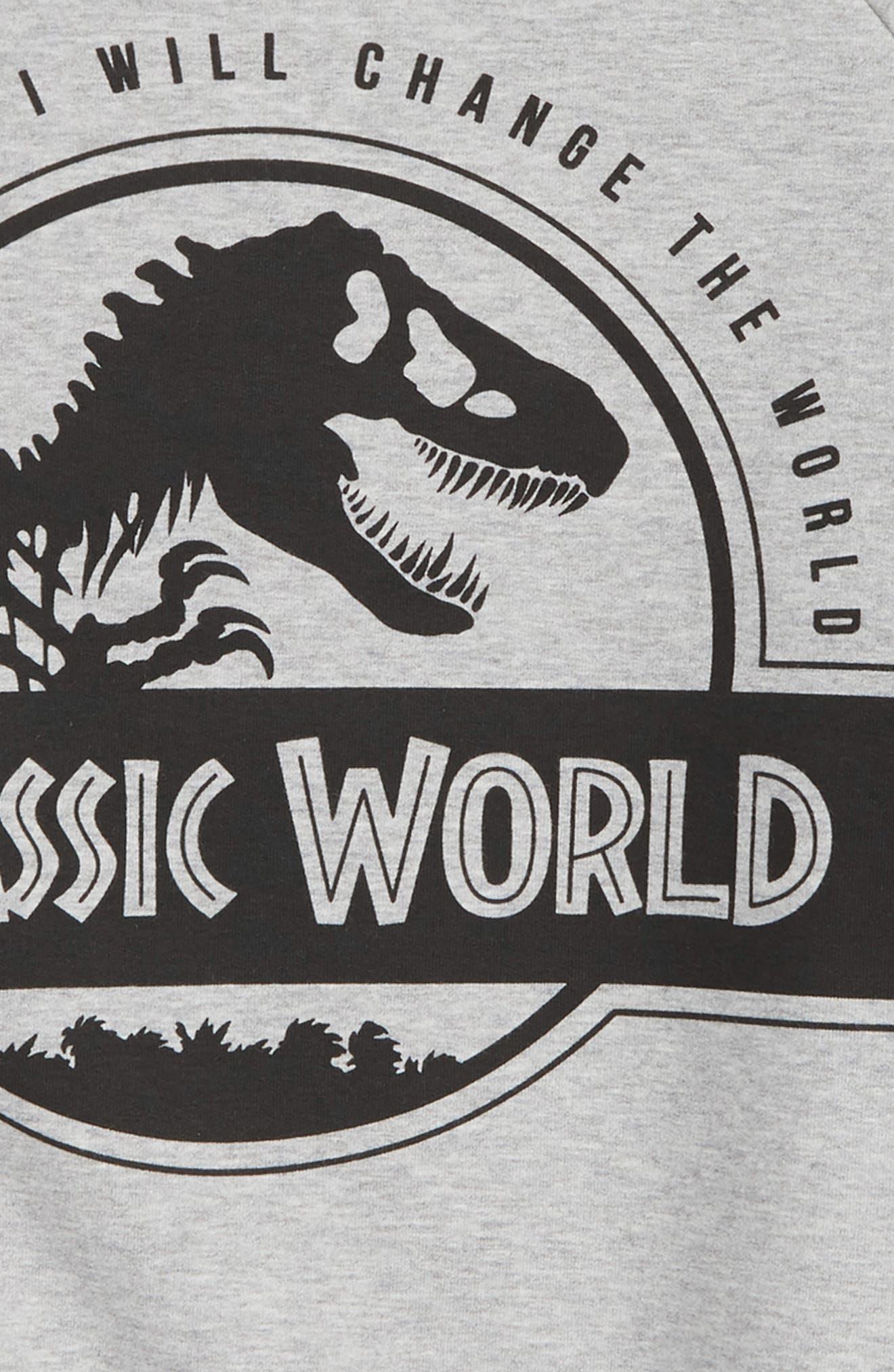 x Jurassic World Rex Graphic Organic Cotton Sweatshirt,                             Alternate thumbnail 2, color,                             Grey Melange