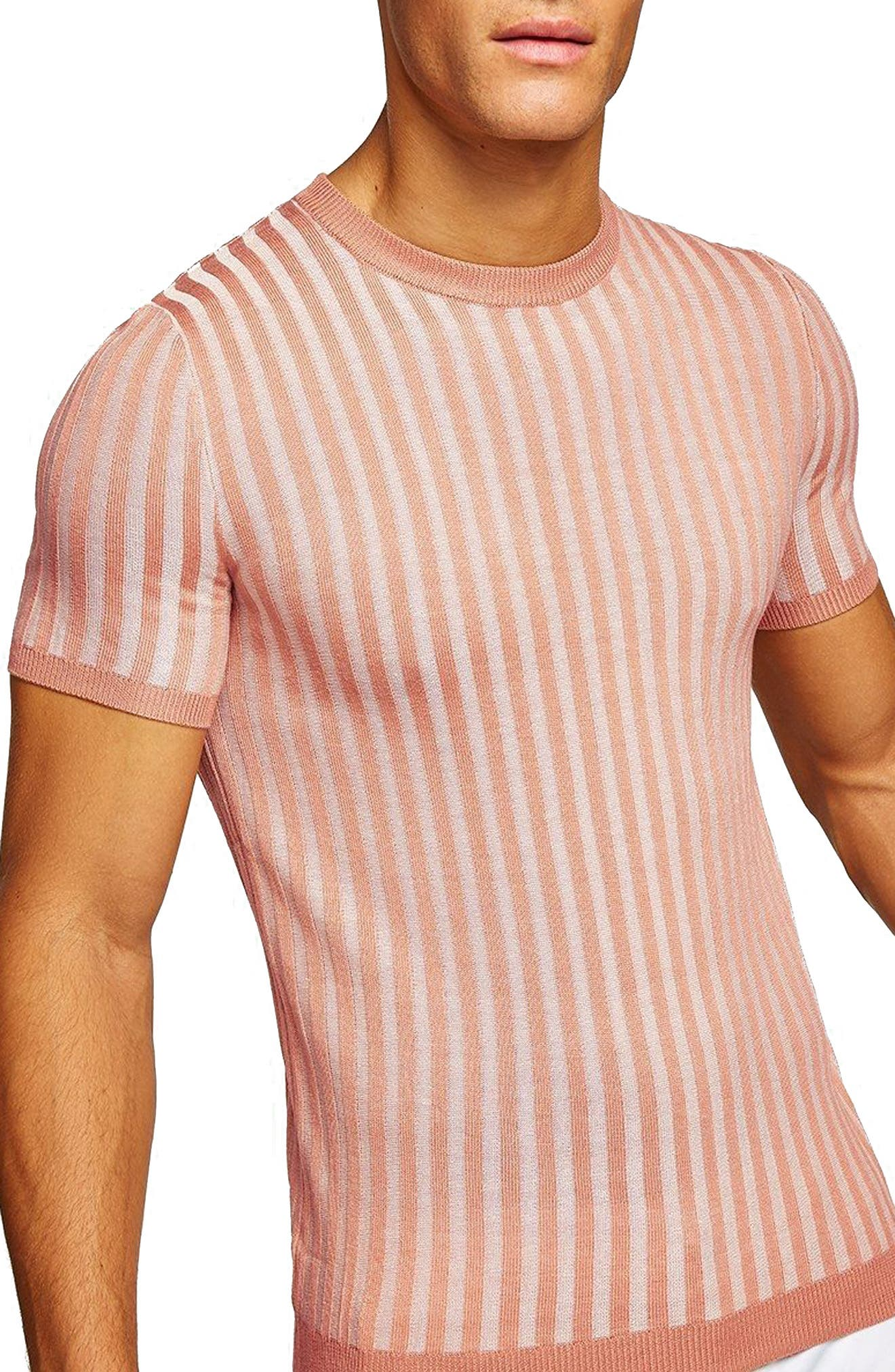 Muscle Fit Ribbed T-Shirt,                         Main,                         color, Pink