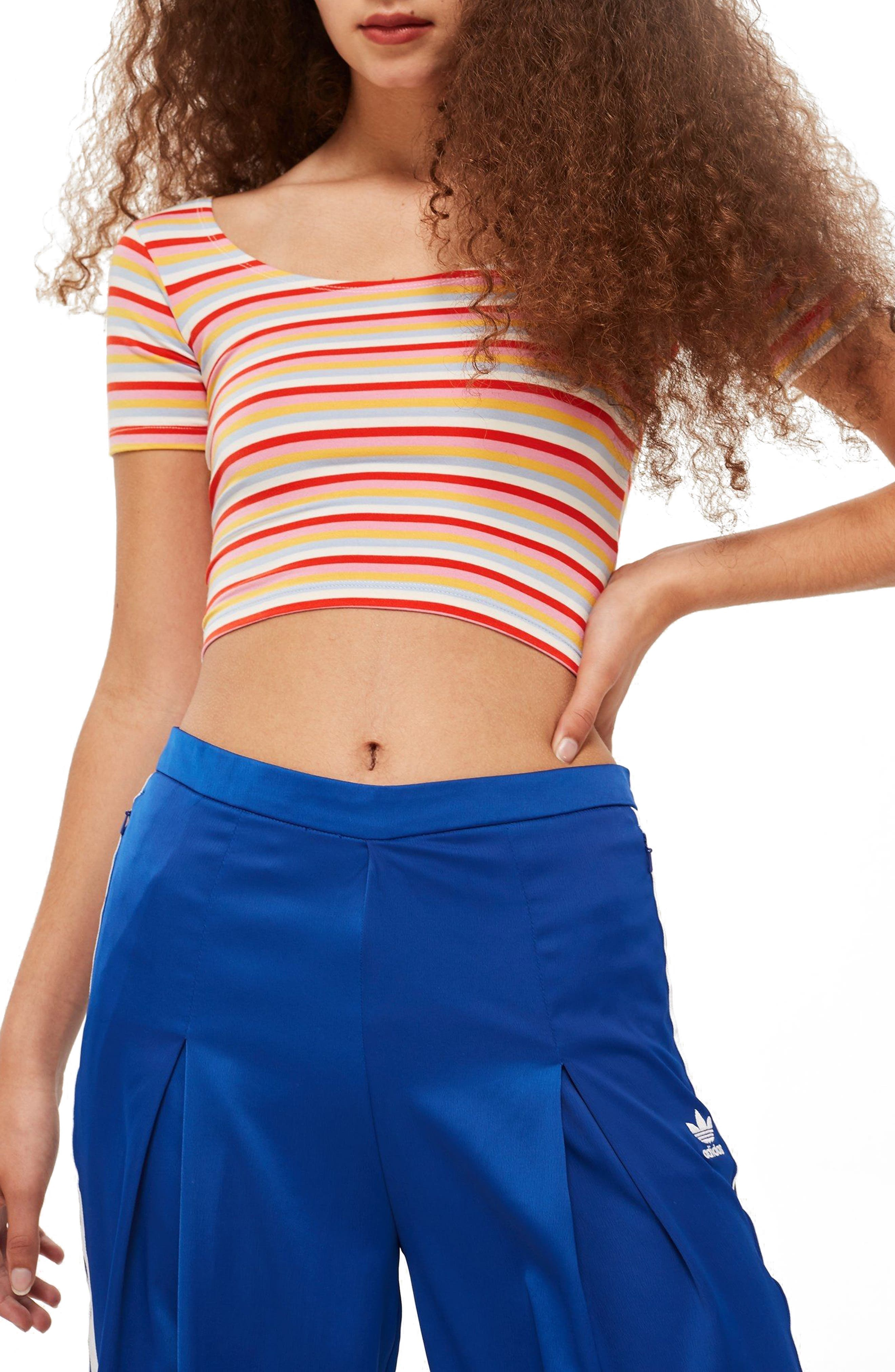Stripe Crop Top,                             Main thumbnail 1, color,                             Red Mutli