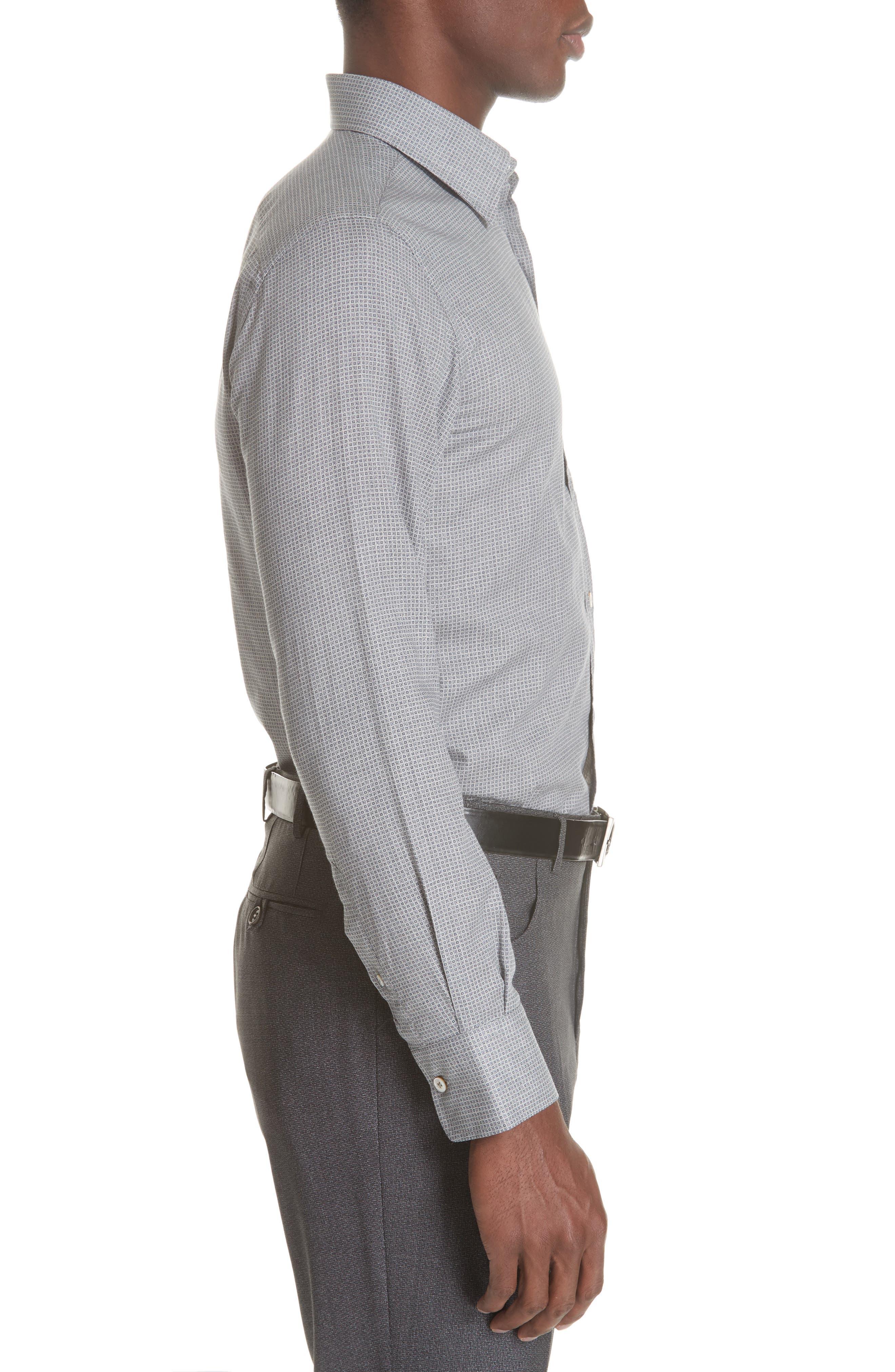 Classic Fit Geometric Dress Shirt,                             Alternate thumbnail 5, color,                             Grey