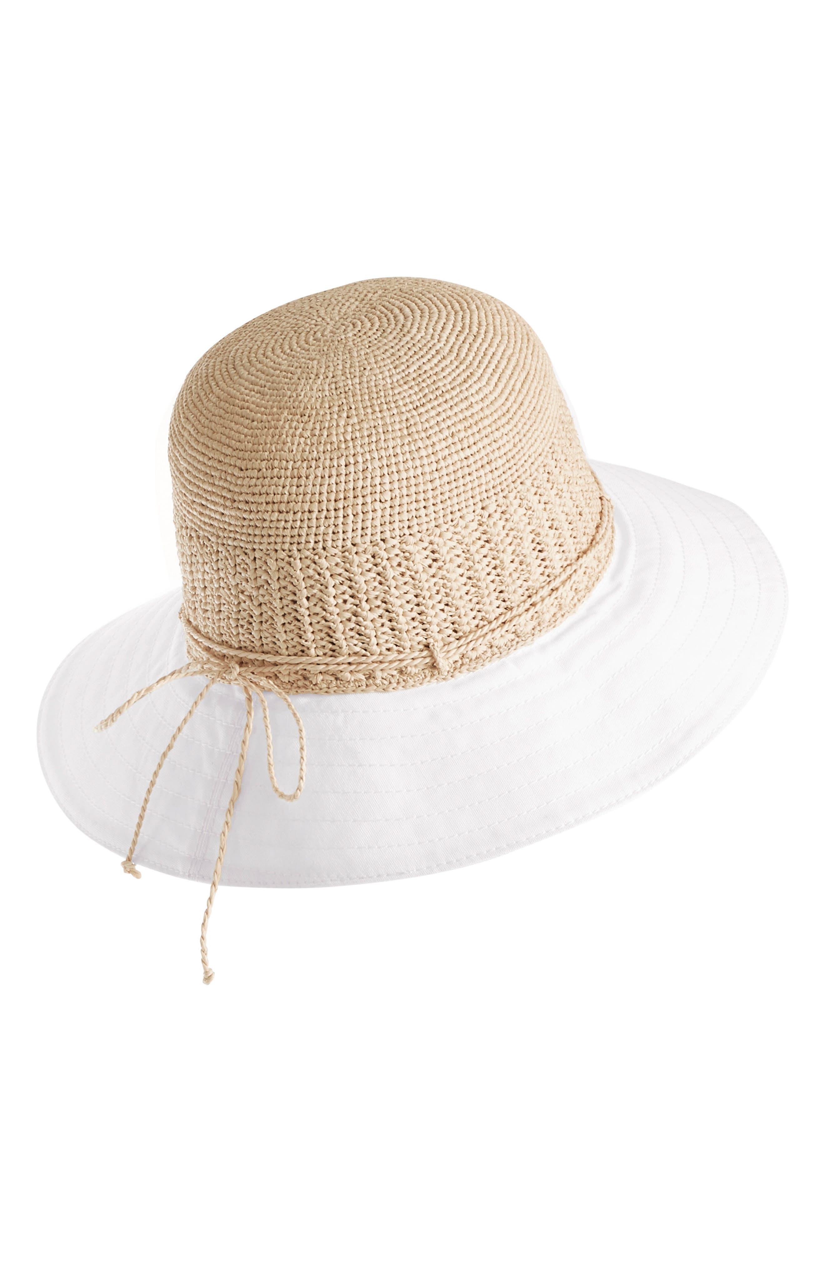 Cotton Brim Raffia Hat,                             Alternate thumbnail 2, color,                             Natural/ White