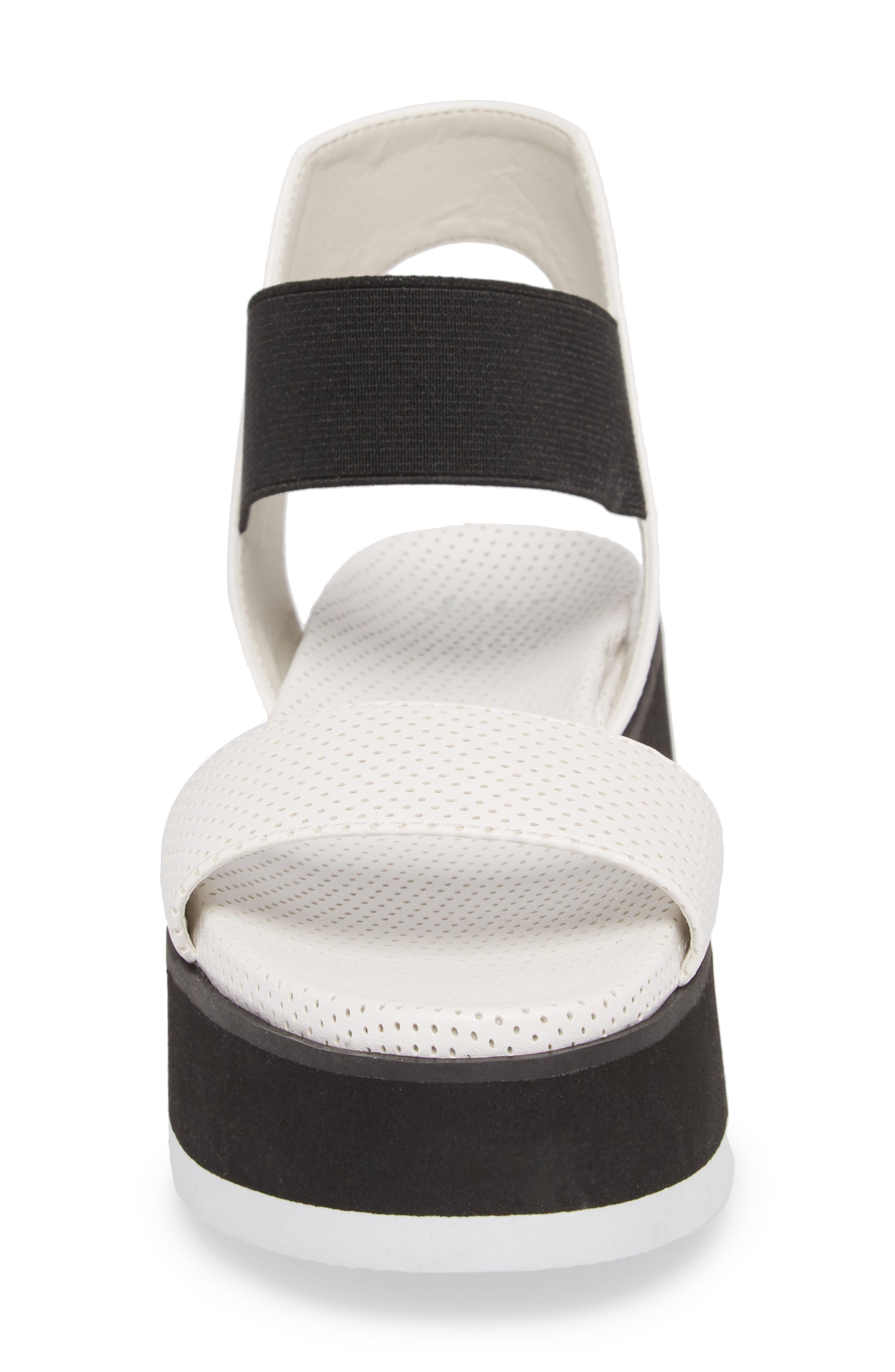 Josie Perforated Platform Sandal,                             Alternate thumbnail 5, color,                             White