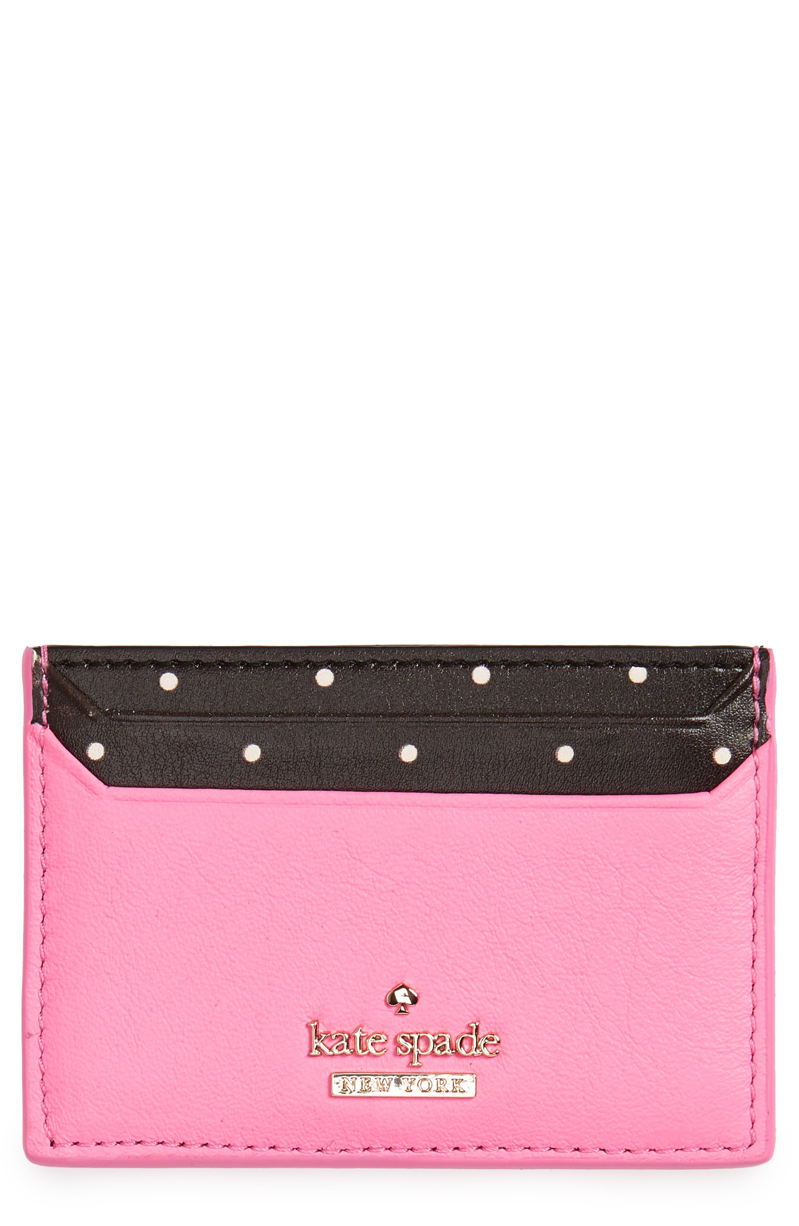 blake street - dot lynleigh leather card case,                             Main thumbnail 1, color,                             Marguerite Bloom