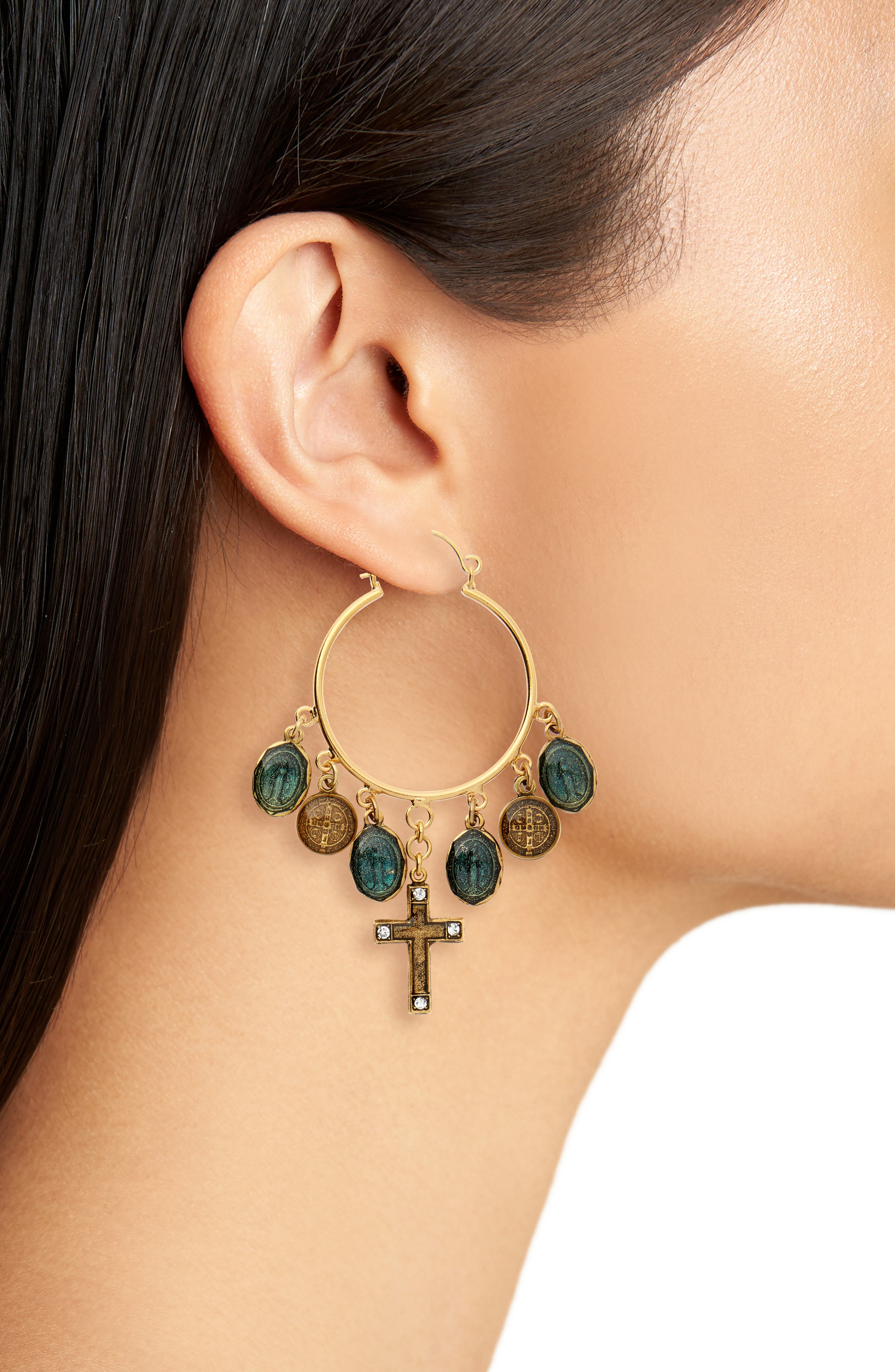 Les Celestes Charm Hoop Earrings,                             Alternate thumbnail 2, color,                             Gold