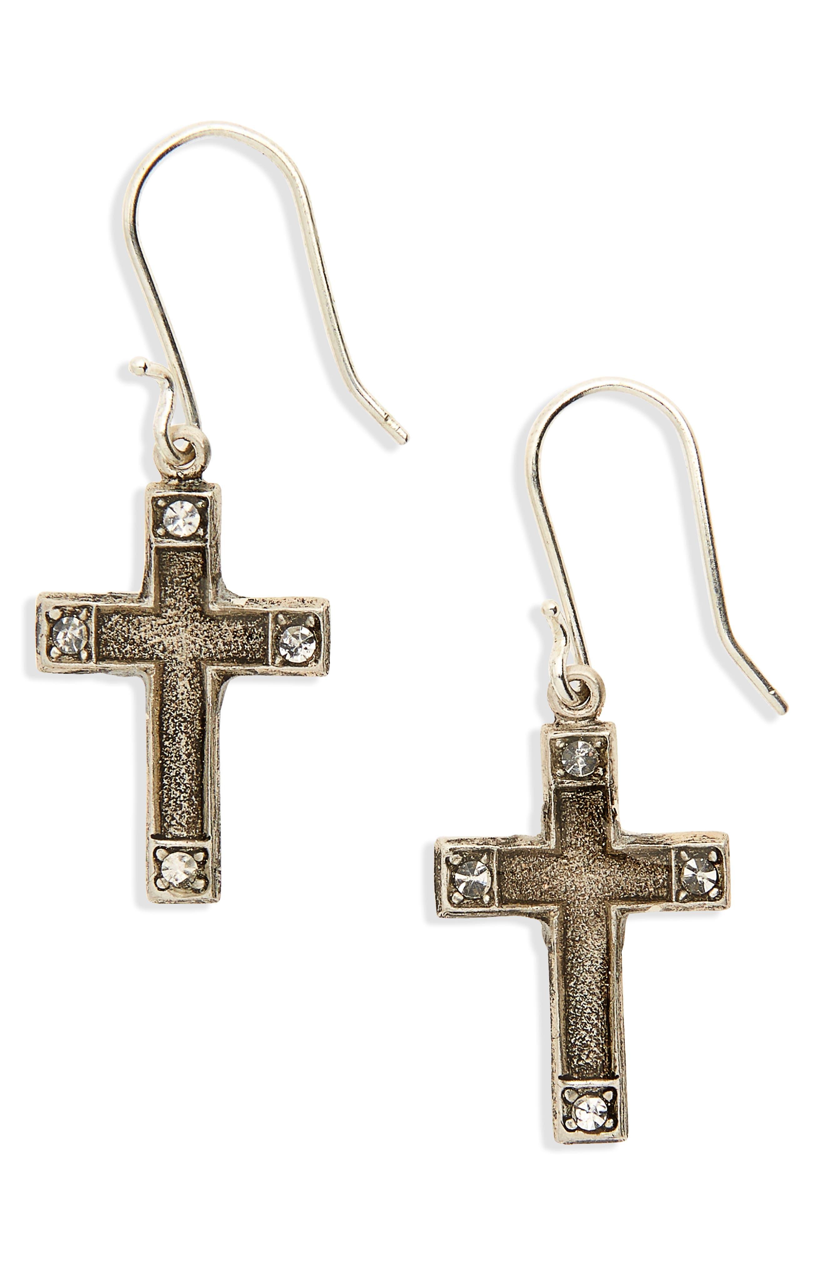 Les Celestes Cross Earrings,                             Main thumbnail 1, color,                             Silver