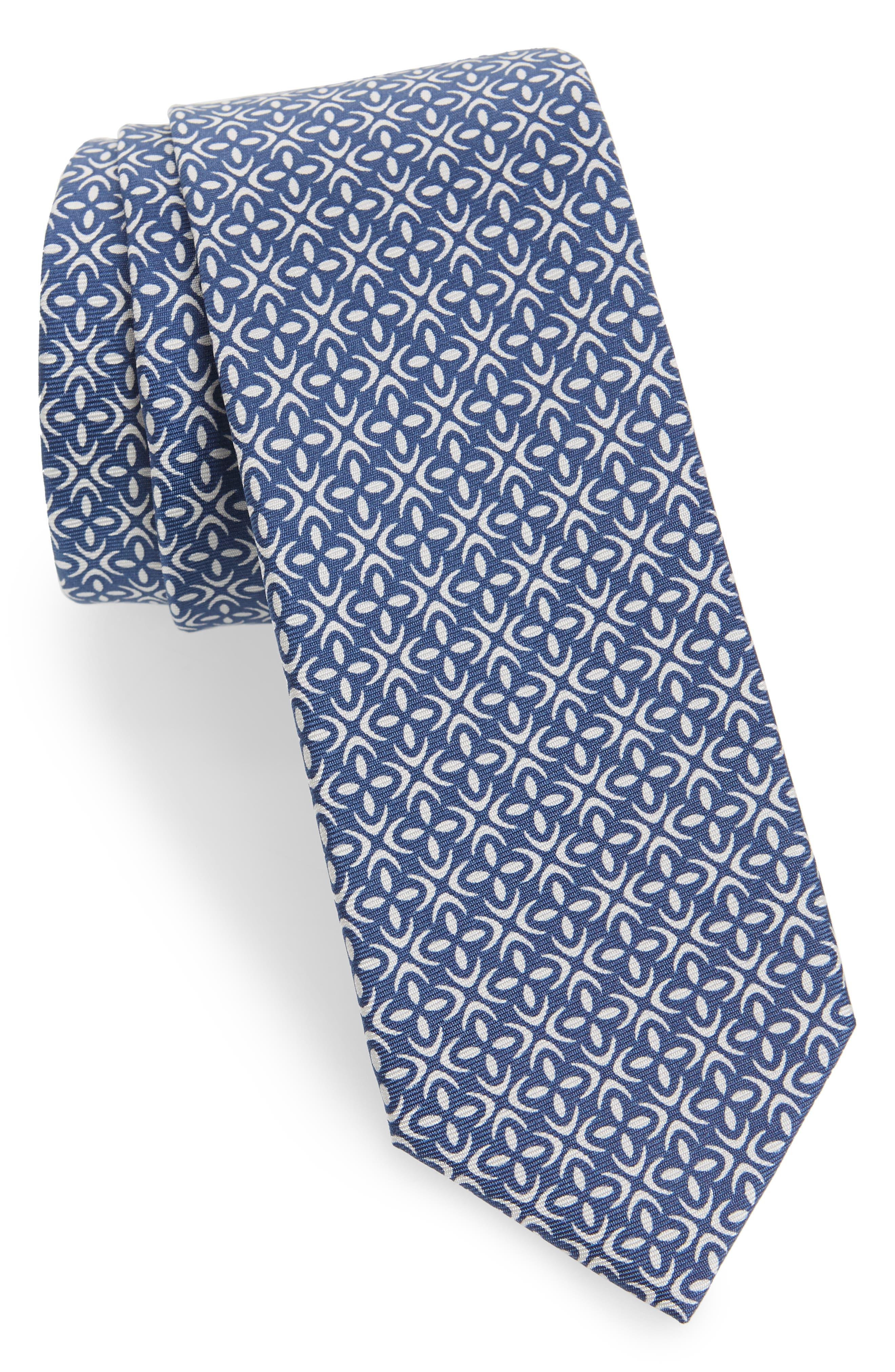 Fischer Geometric Skinny Silk Tie,                             Main thumbnail 1, color,                             Blue