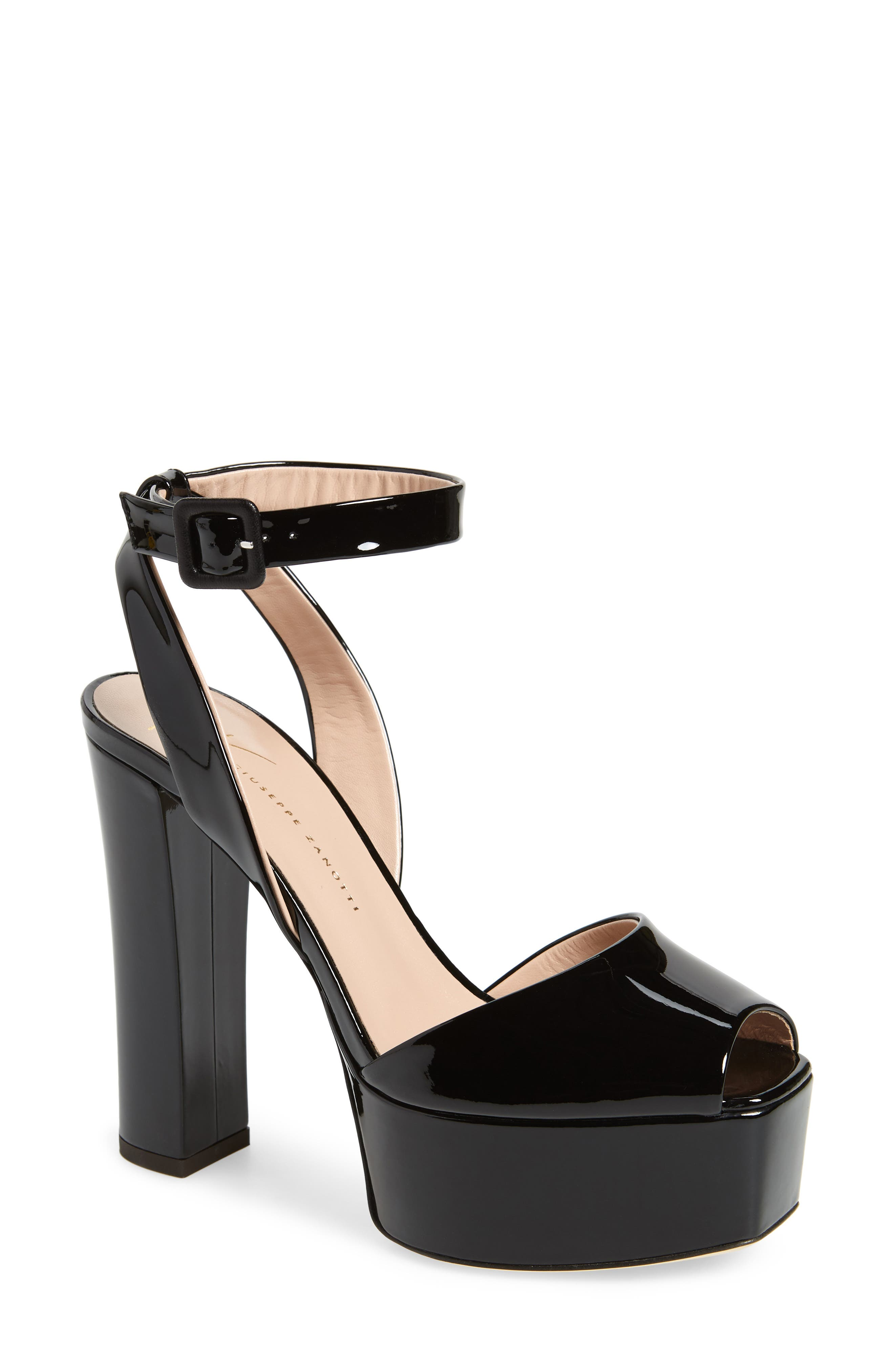 Lavinia Platform Sandal,                         Main,                         color, Black Patent