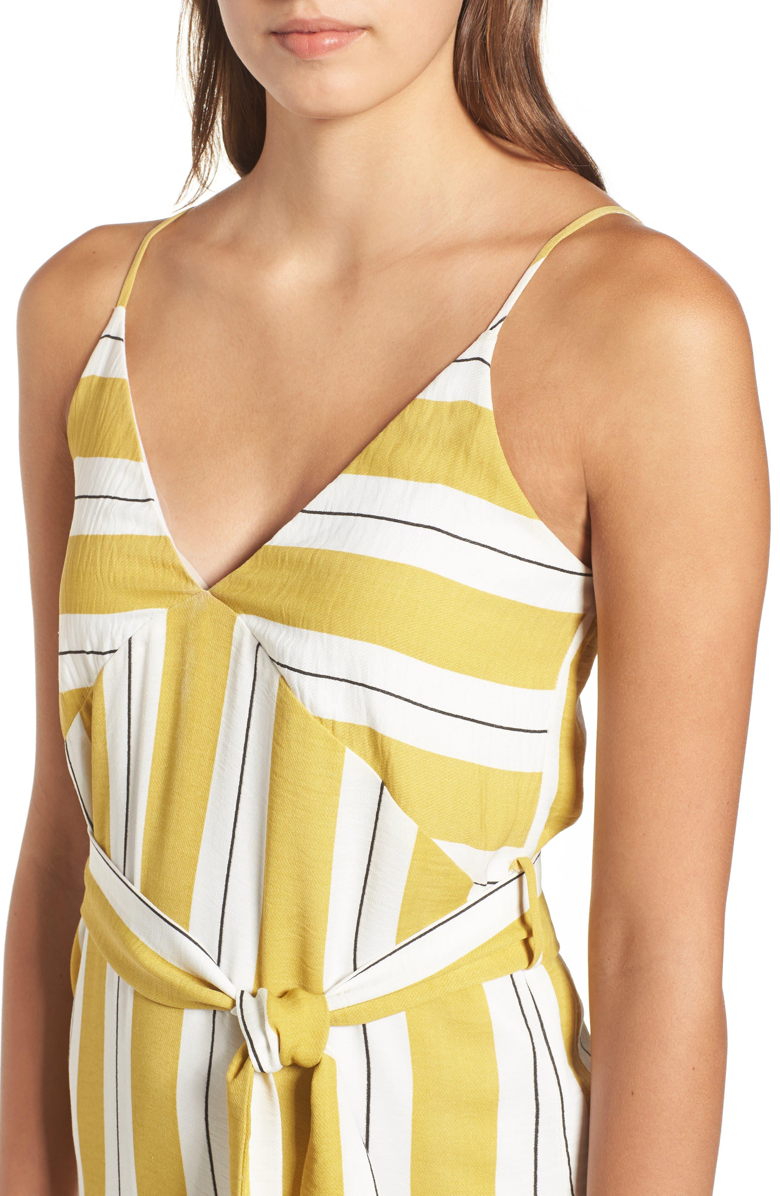 Stripe Midi Dress,                             Alternate thumbnail 4, color,                             Yellow Stripe Per Sample