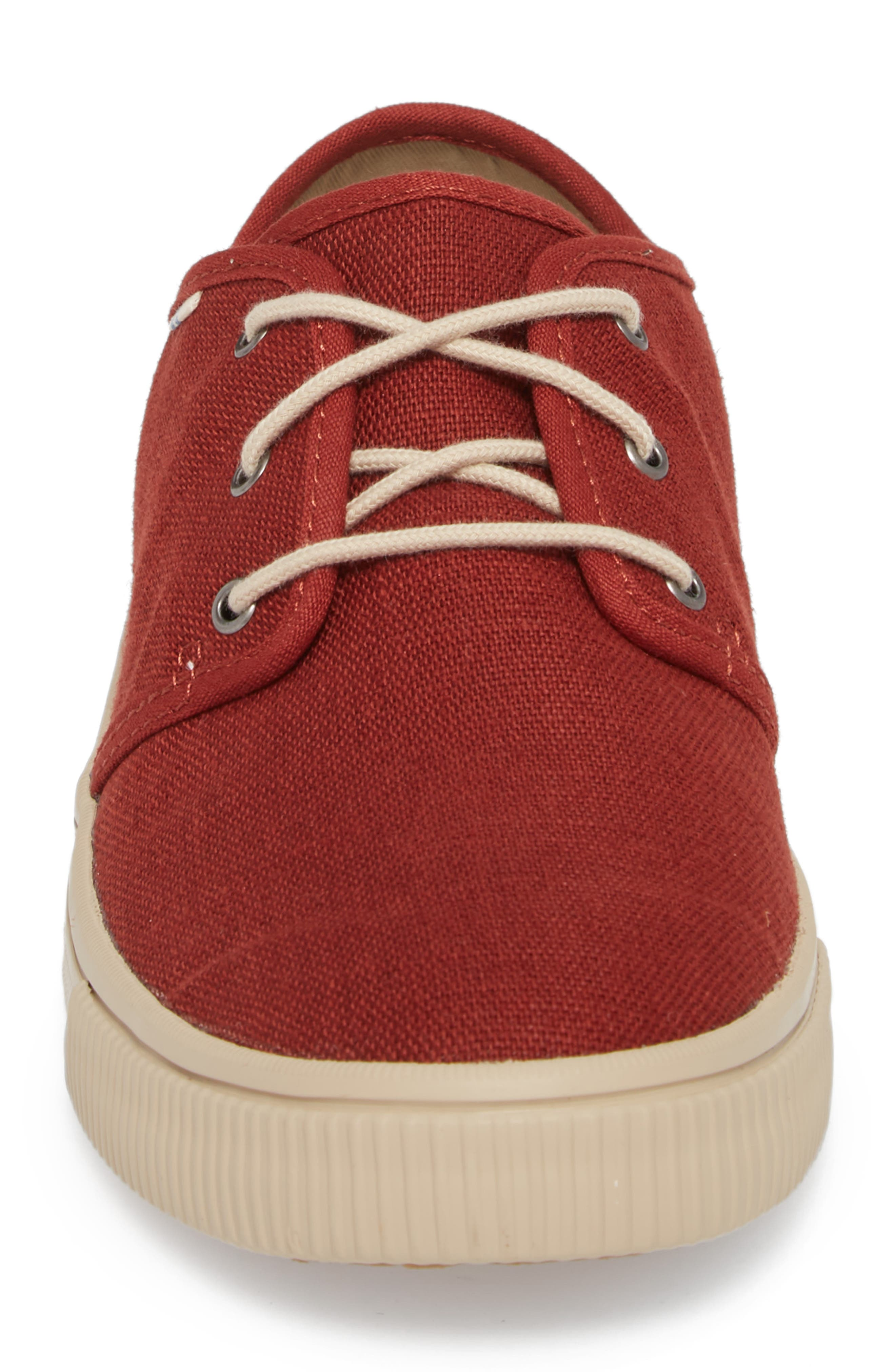 Carlo Low Top Sneaker,                             Alternate thumbnail 5, color,                             Burnt Henna Heritage Canvas