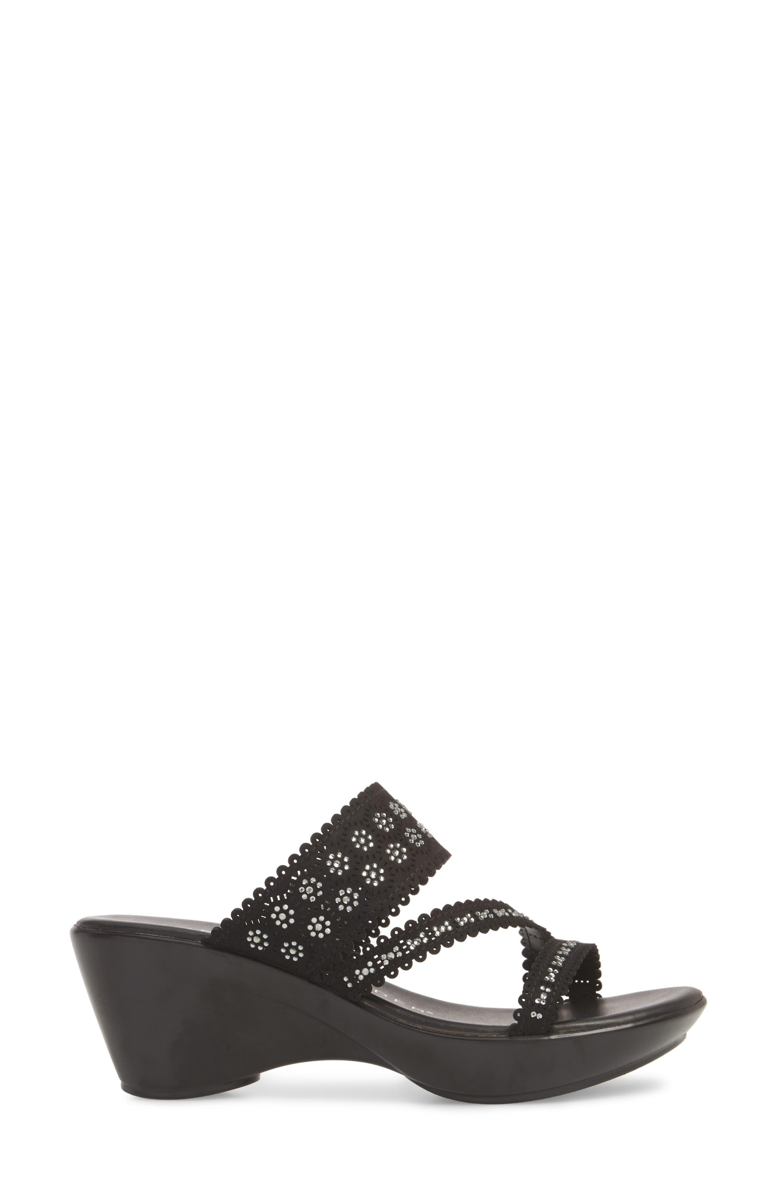 Poppy Wedge Sandal,                             Alternate thumbnail 5, color,                             Black Fabric