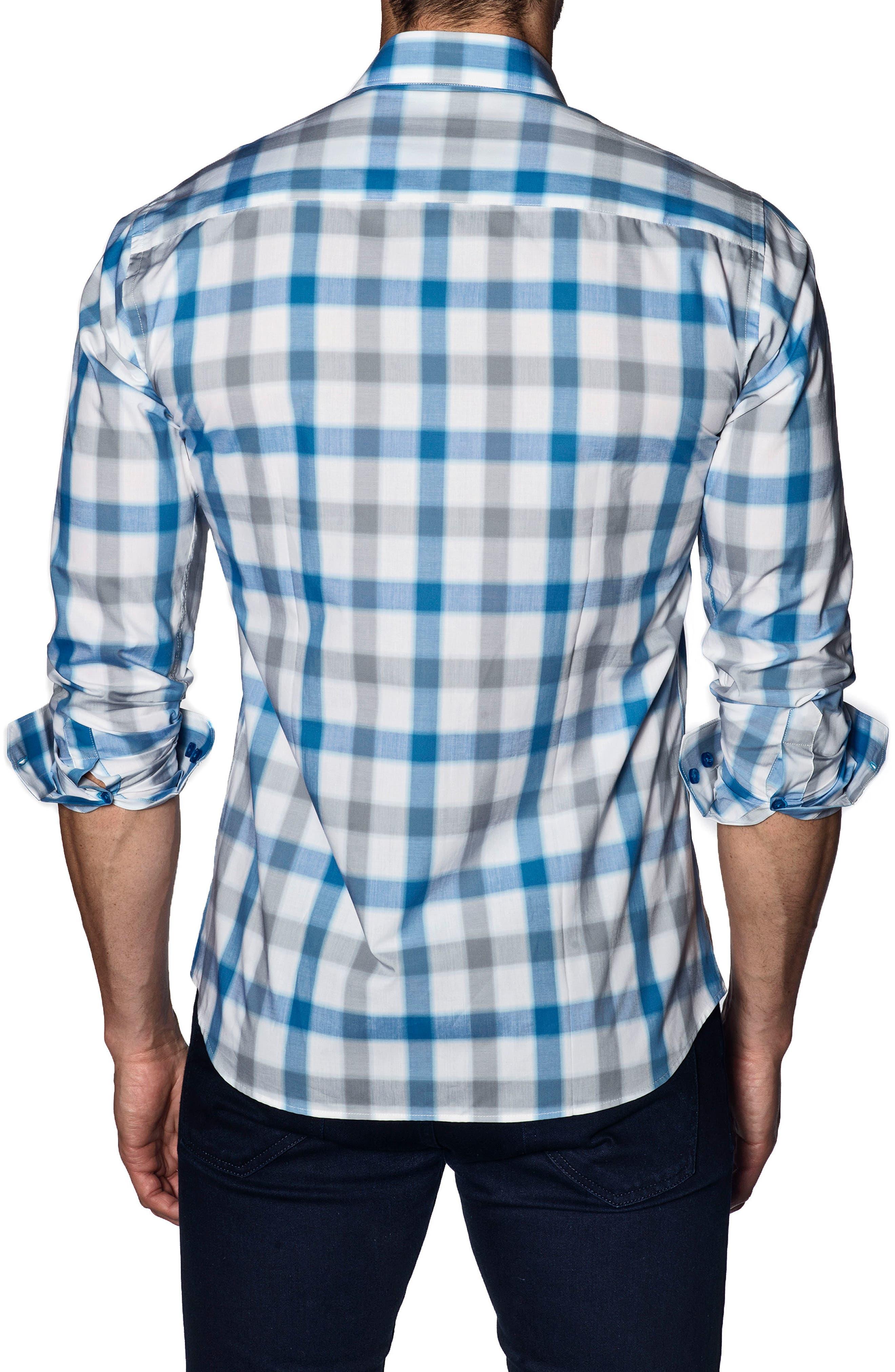 Trim Fit Sport Shirt,                             Alternate thumbnail 2, color,                             White Blue Check