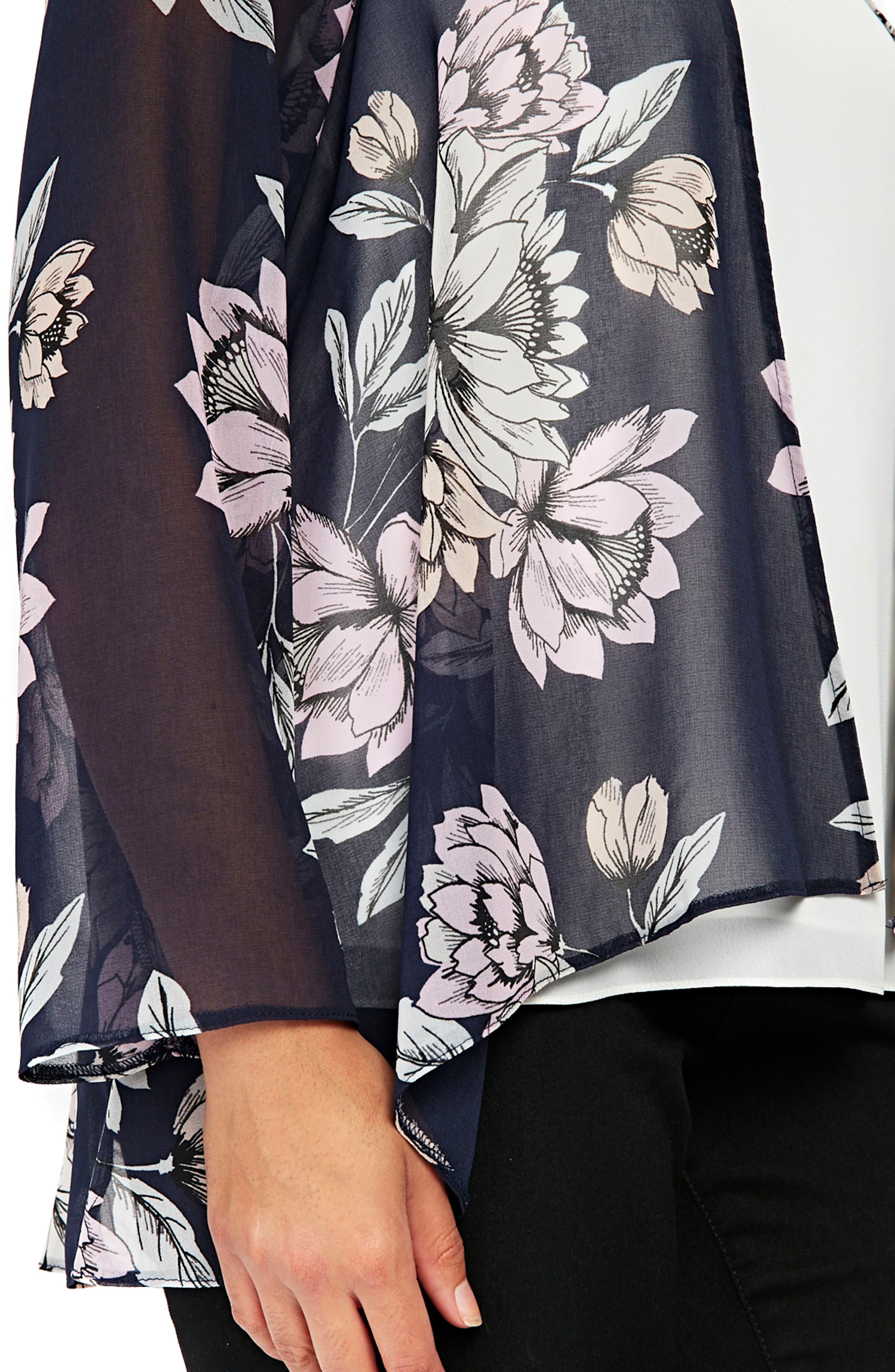 Floral Kimono Jacket,                             Alternate thumbnail 3, color,                             Navy