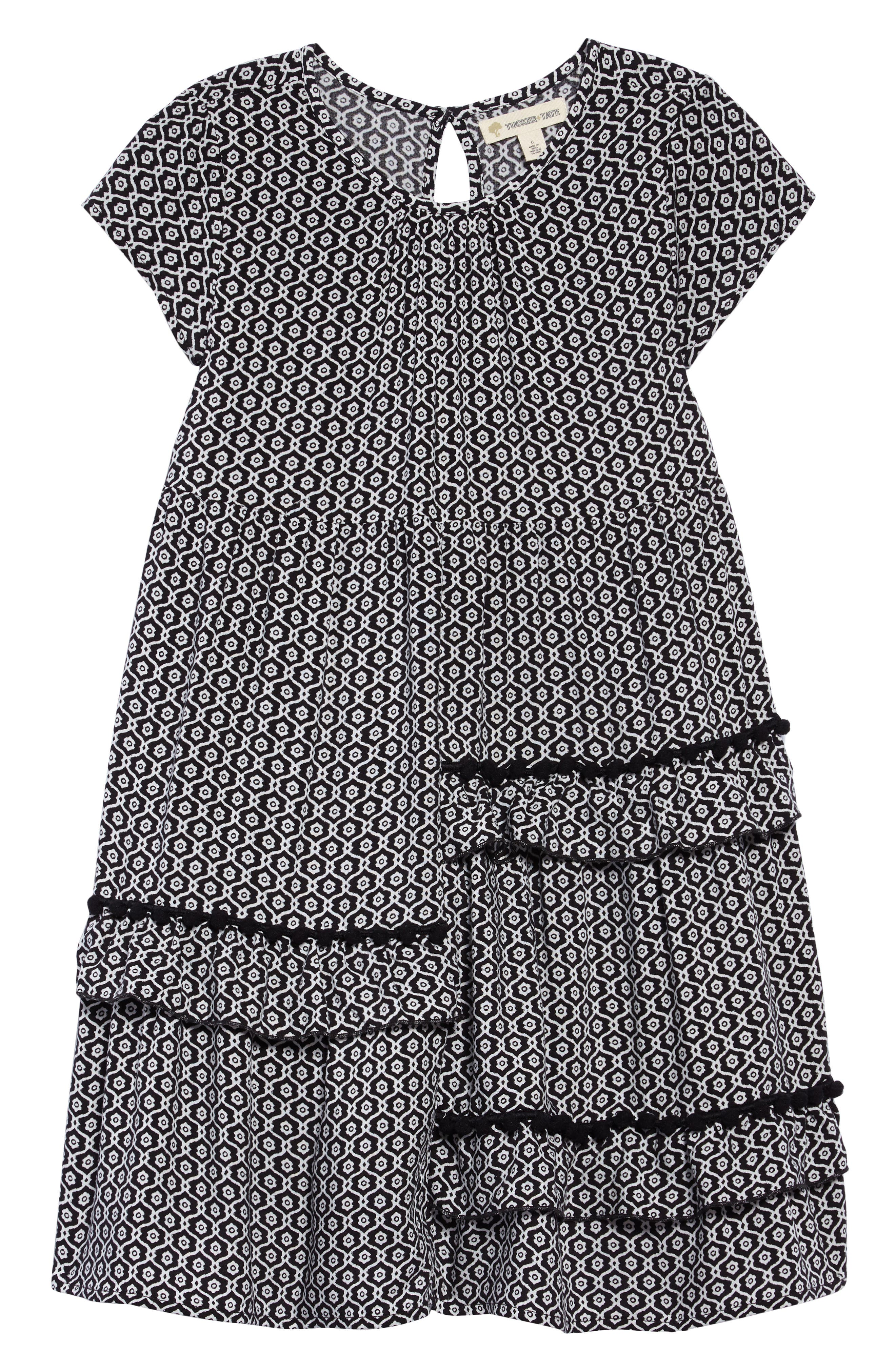 Print Dress,                             Main thumbnail 1, color,                             Black- Ivory Geo