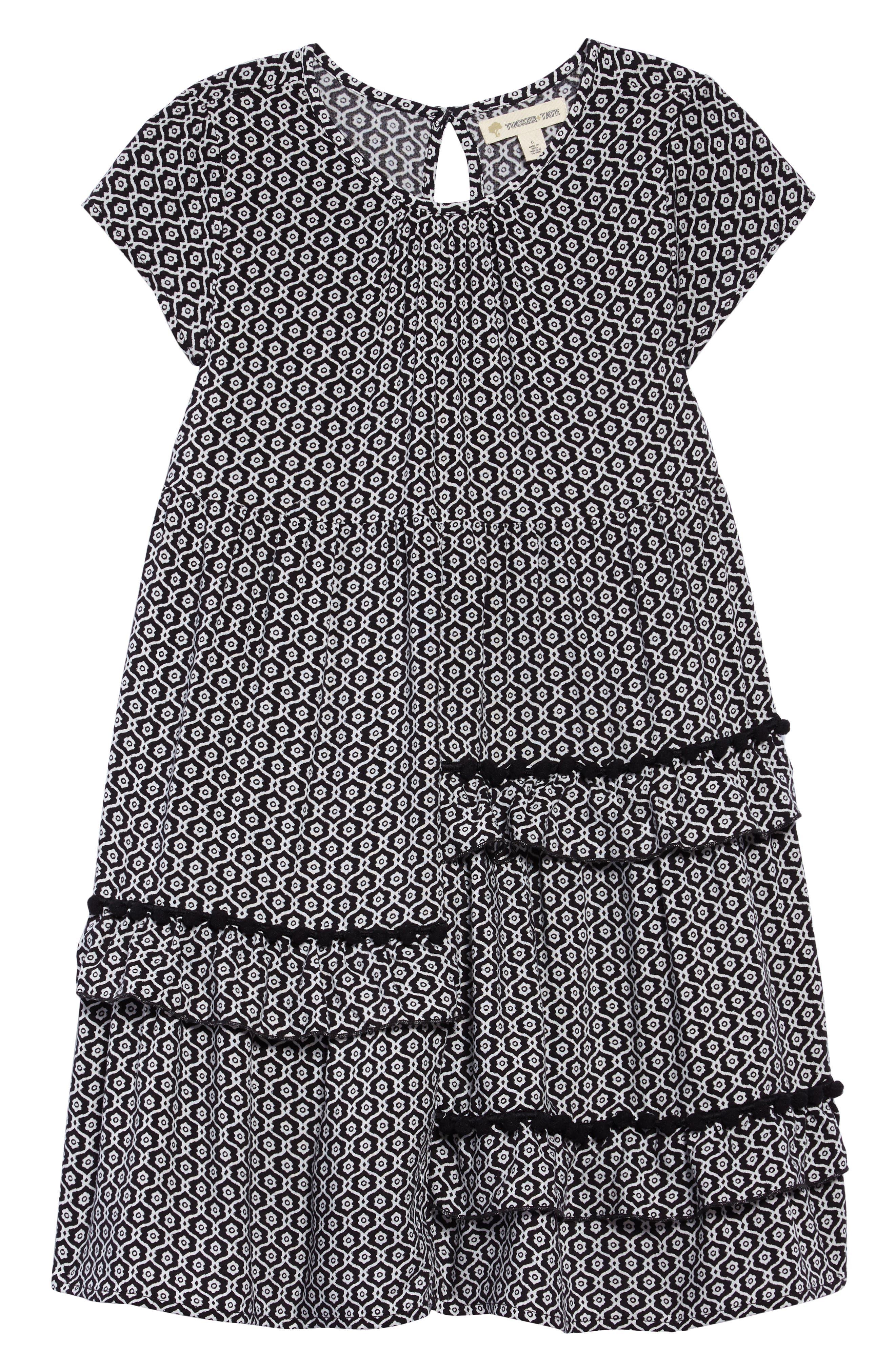 Print Dress,                         Main,                         color, Black- Ivory Geo