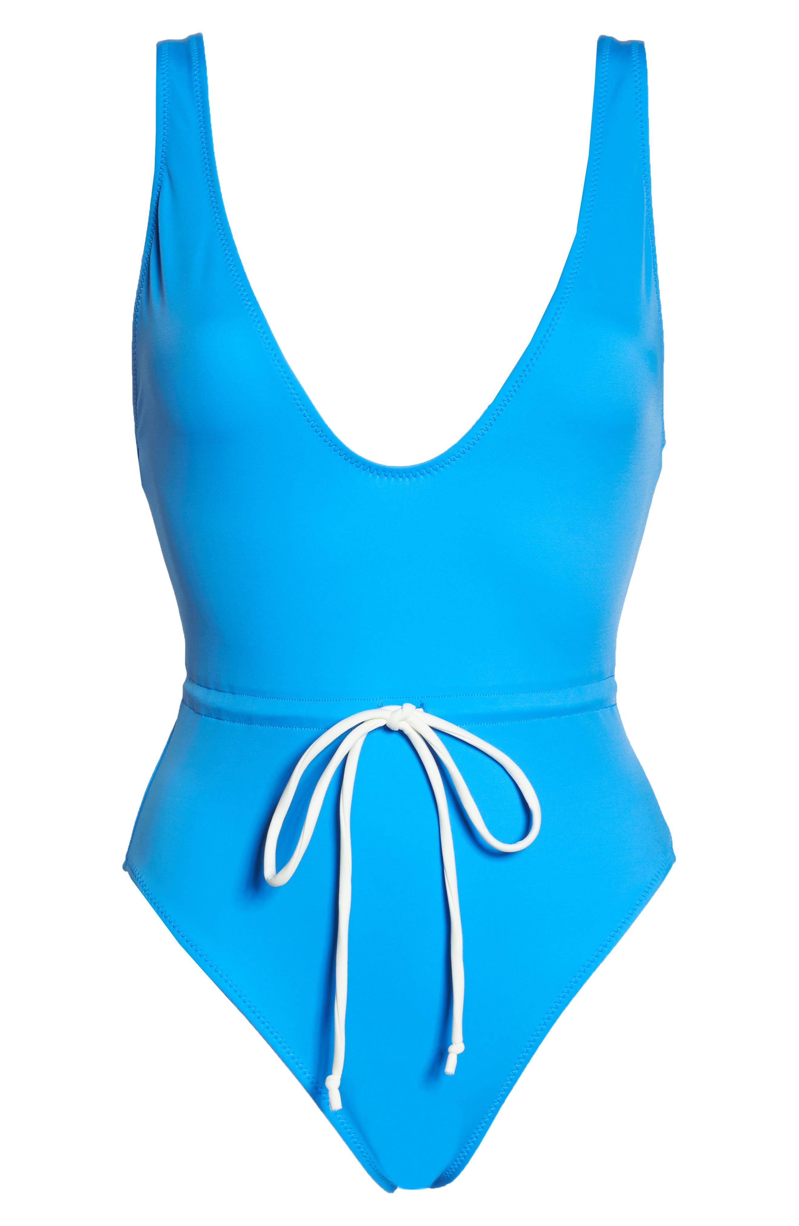 Michelle Tie Waist One-Piece Swimsuit,                             Alternate thumbnail 6, color,                             Sea