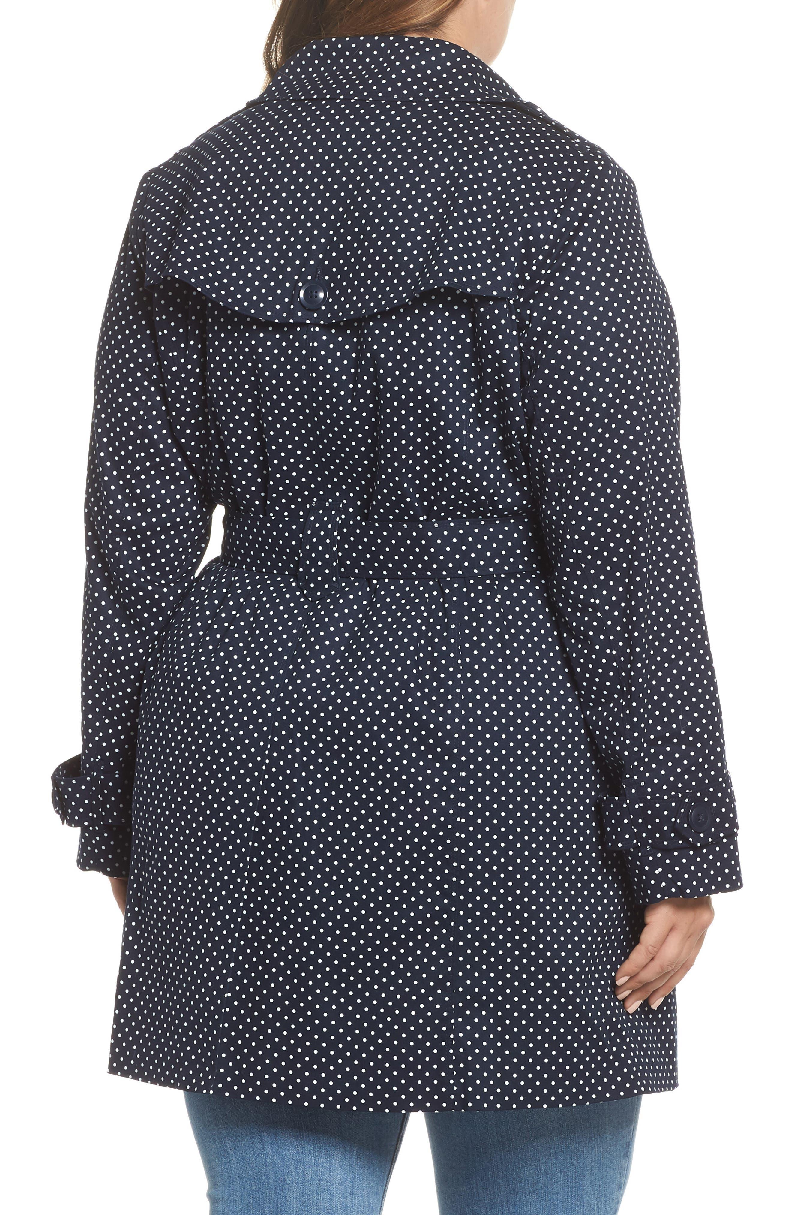 Polka Dot Single Breasted Trench Coat,                             Alternate thumbnail 2, color,                             Navy