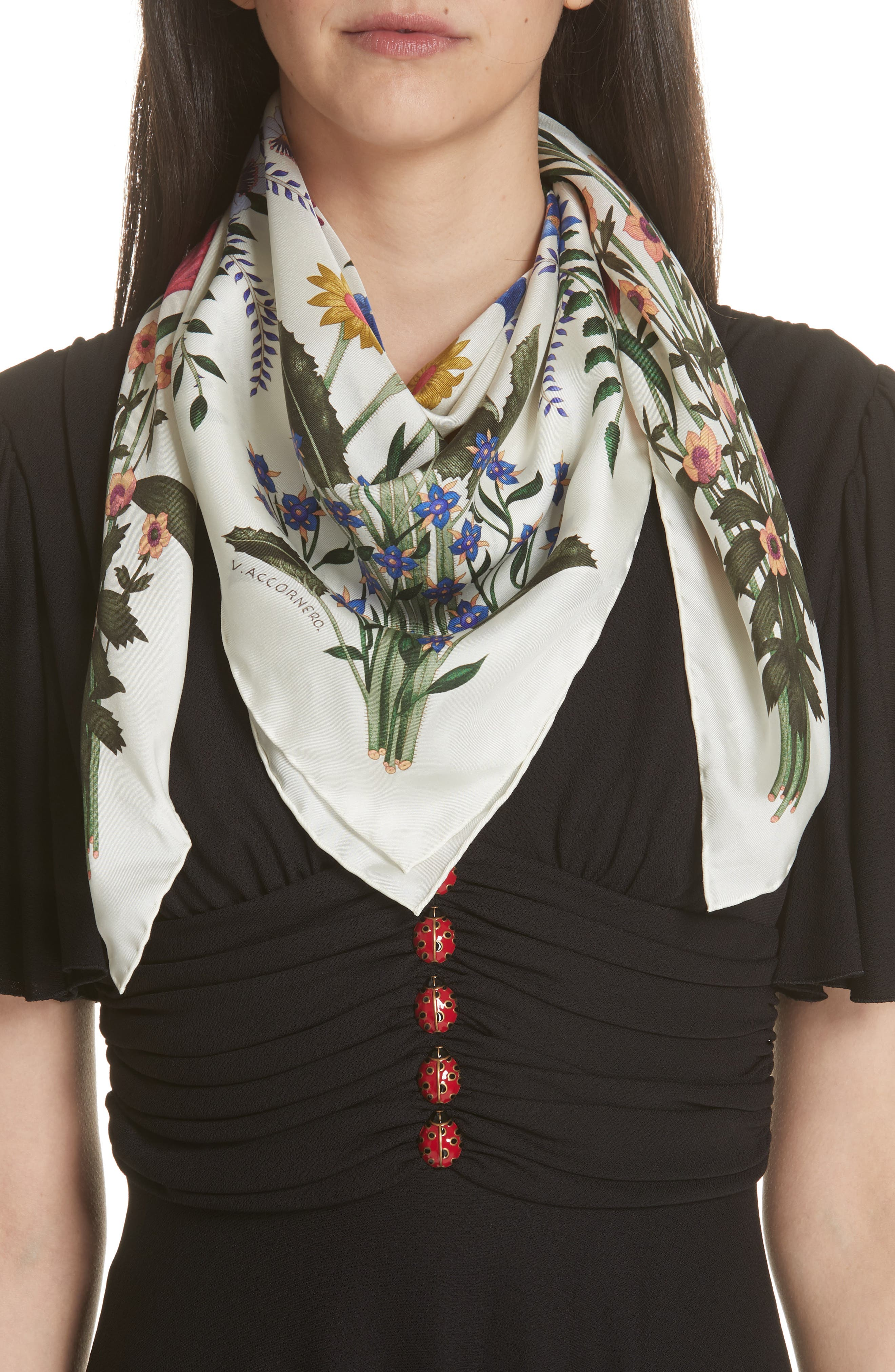 New Flora Silk Scarf,                         Main,                         color, Ivory