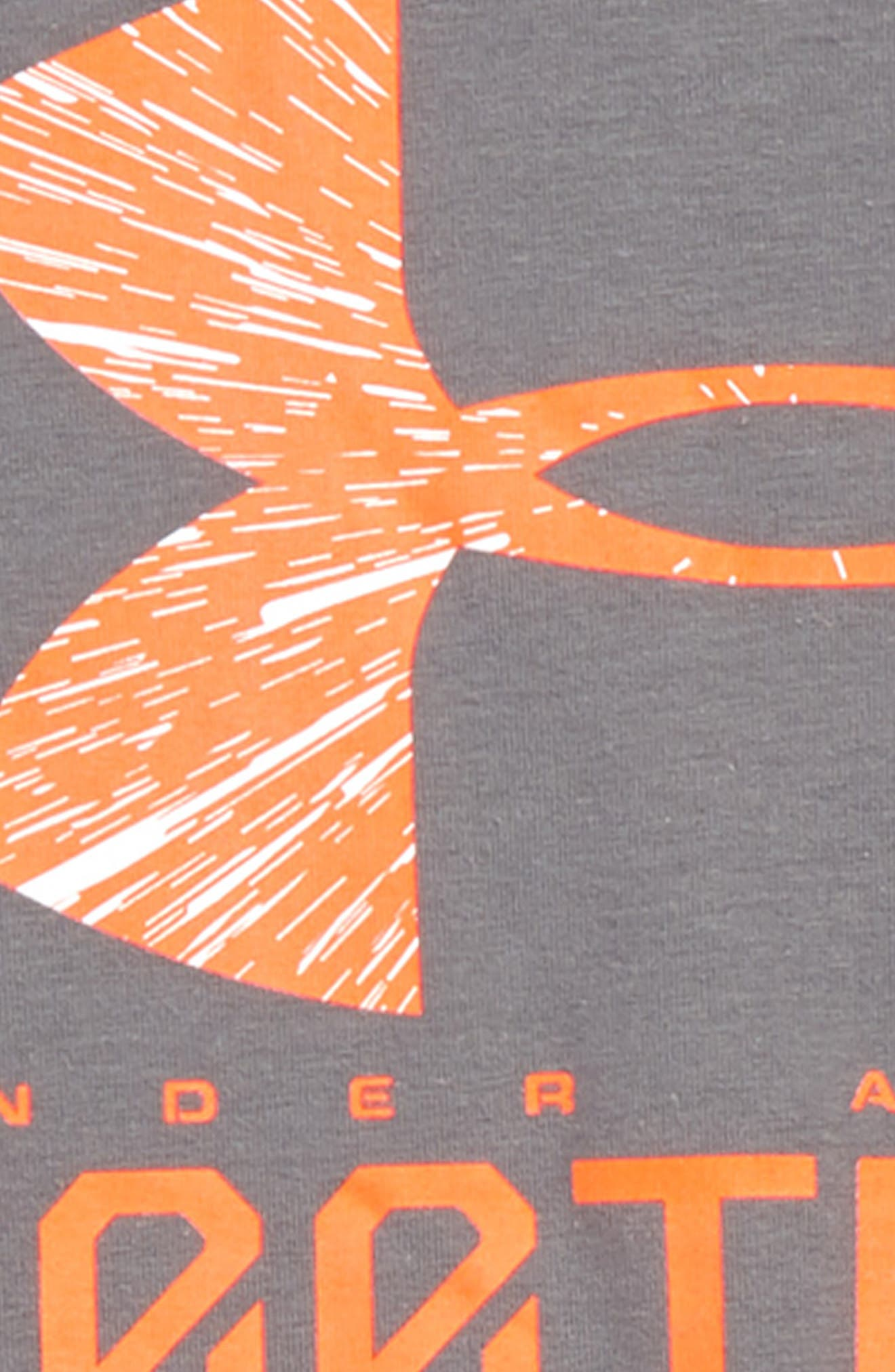 Football Lockup HeatGear<sup>®</sup> Charged Cotton<sup>®</sup> T-Shirt,                             Alternate thumbnail 2, color,                             Graphite/ White