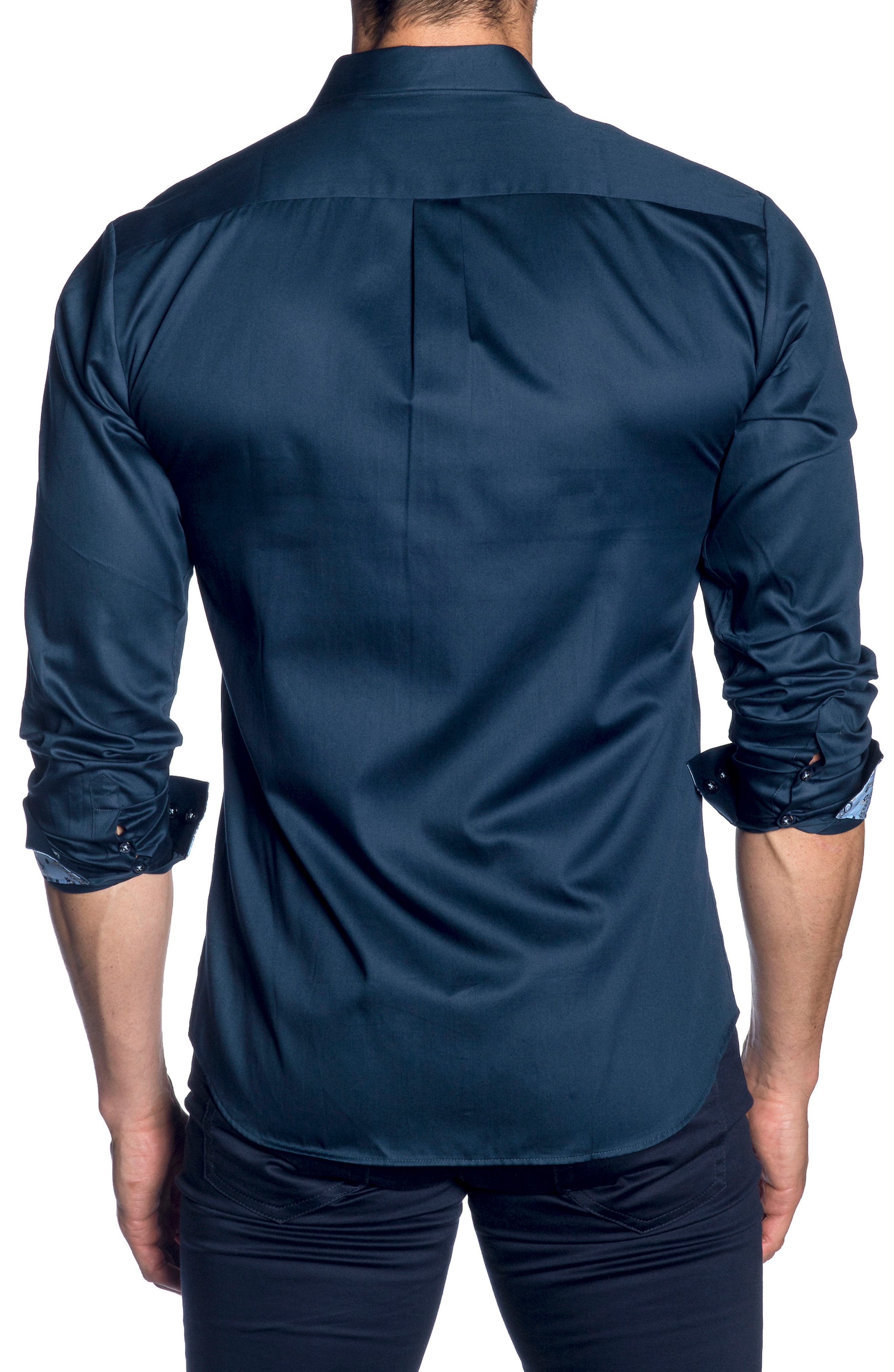 Trim Fit Sport Shirt,                             Alternate thumbnail 2, color,                             Navy