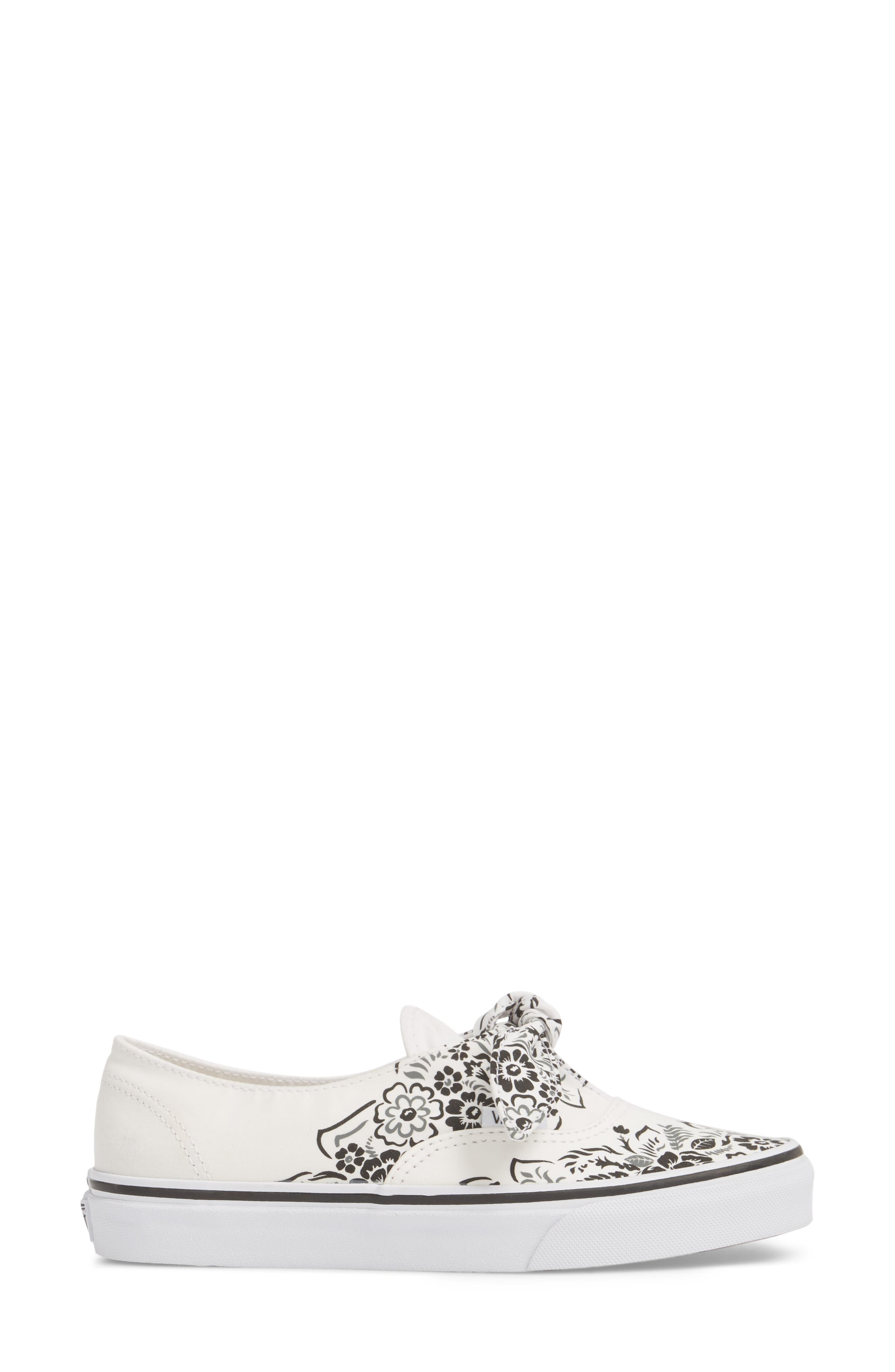 UA Authentic Knotted Floral Bandana Slip-On Sneaker,                             Alternate thumbnail 3, color,                             Marshmallow