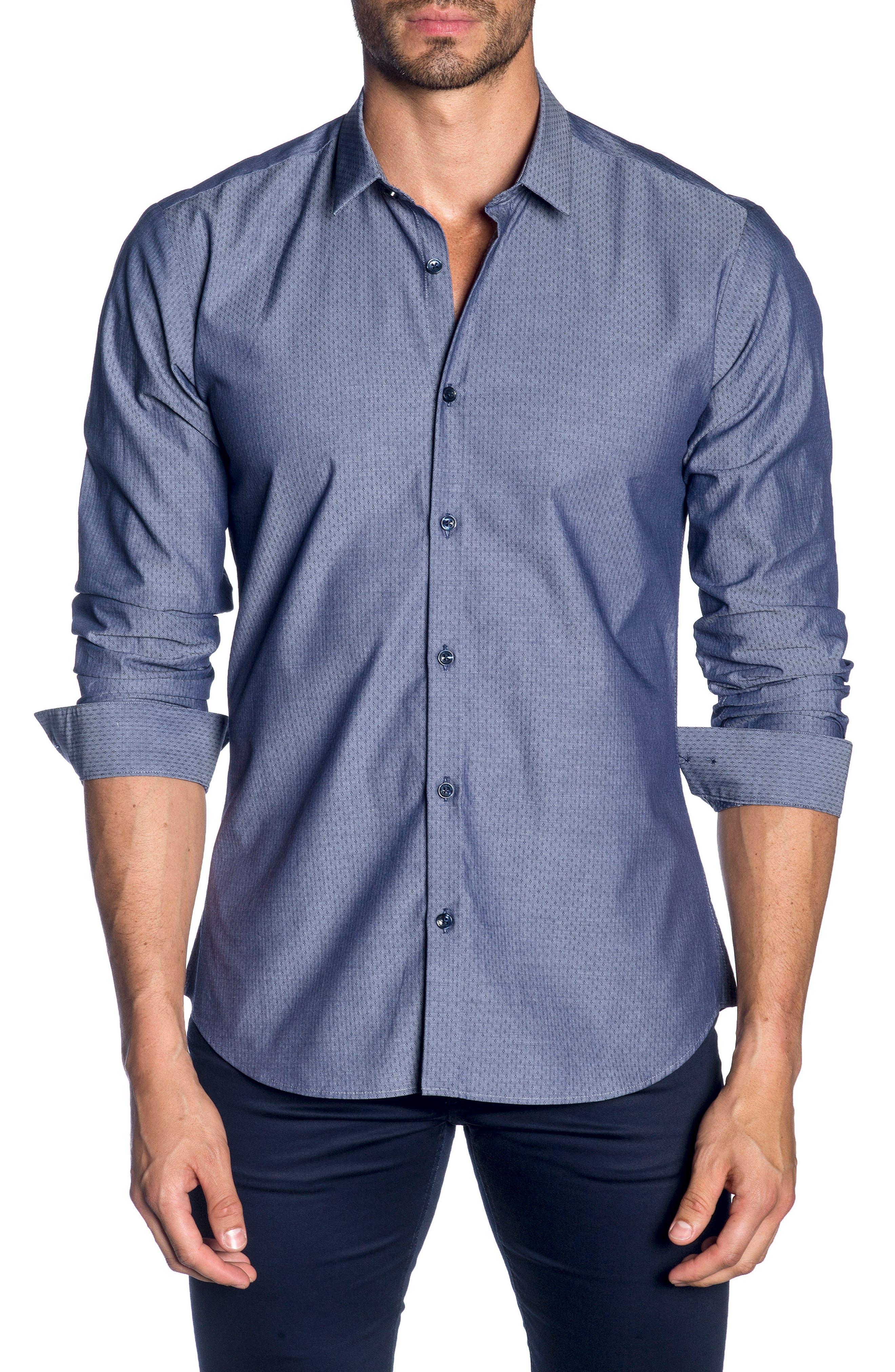 Trim Fit Sport Shirt,                             Main thumbnail 1, color,                             Blue Denim Jacquard
