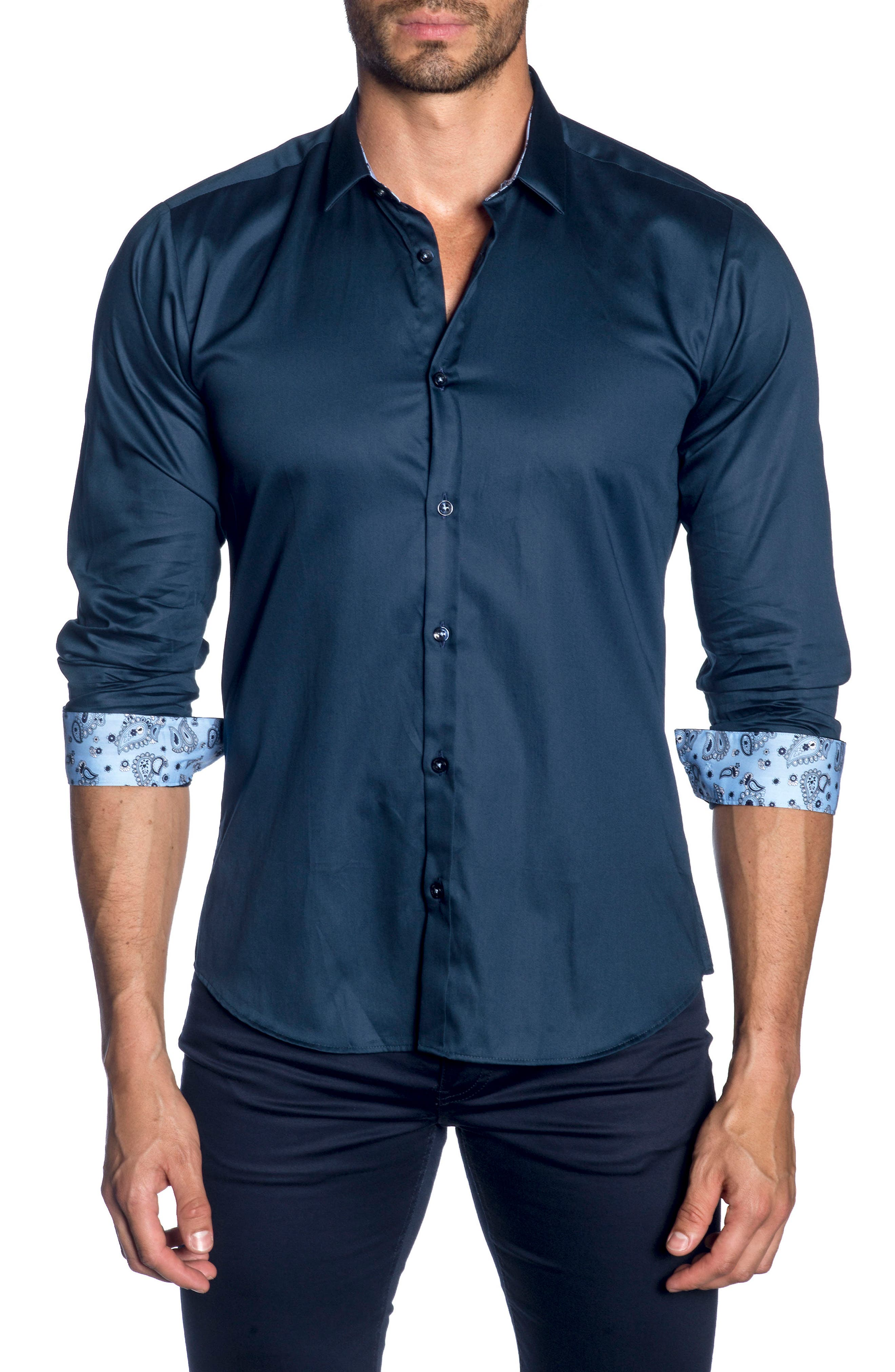 Trim Fit Sport Shirt,                         Main,                         color, Navy
