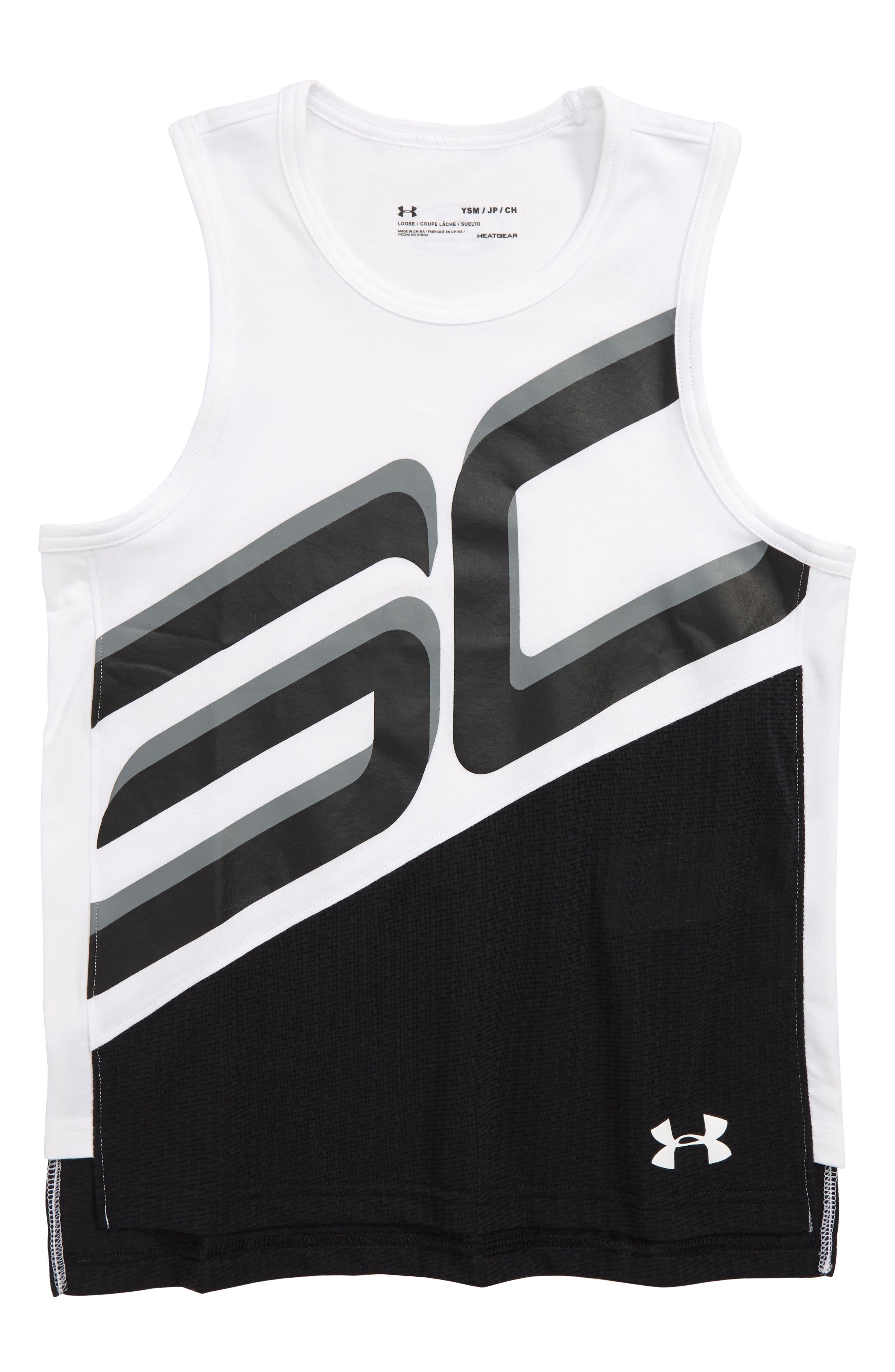 SC30 HeatGear<sup>®</sup> Charged Cotton<sup>®</sup> Tank,                             Main thumbnail 1, color,                             White/ Black