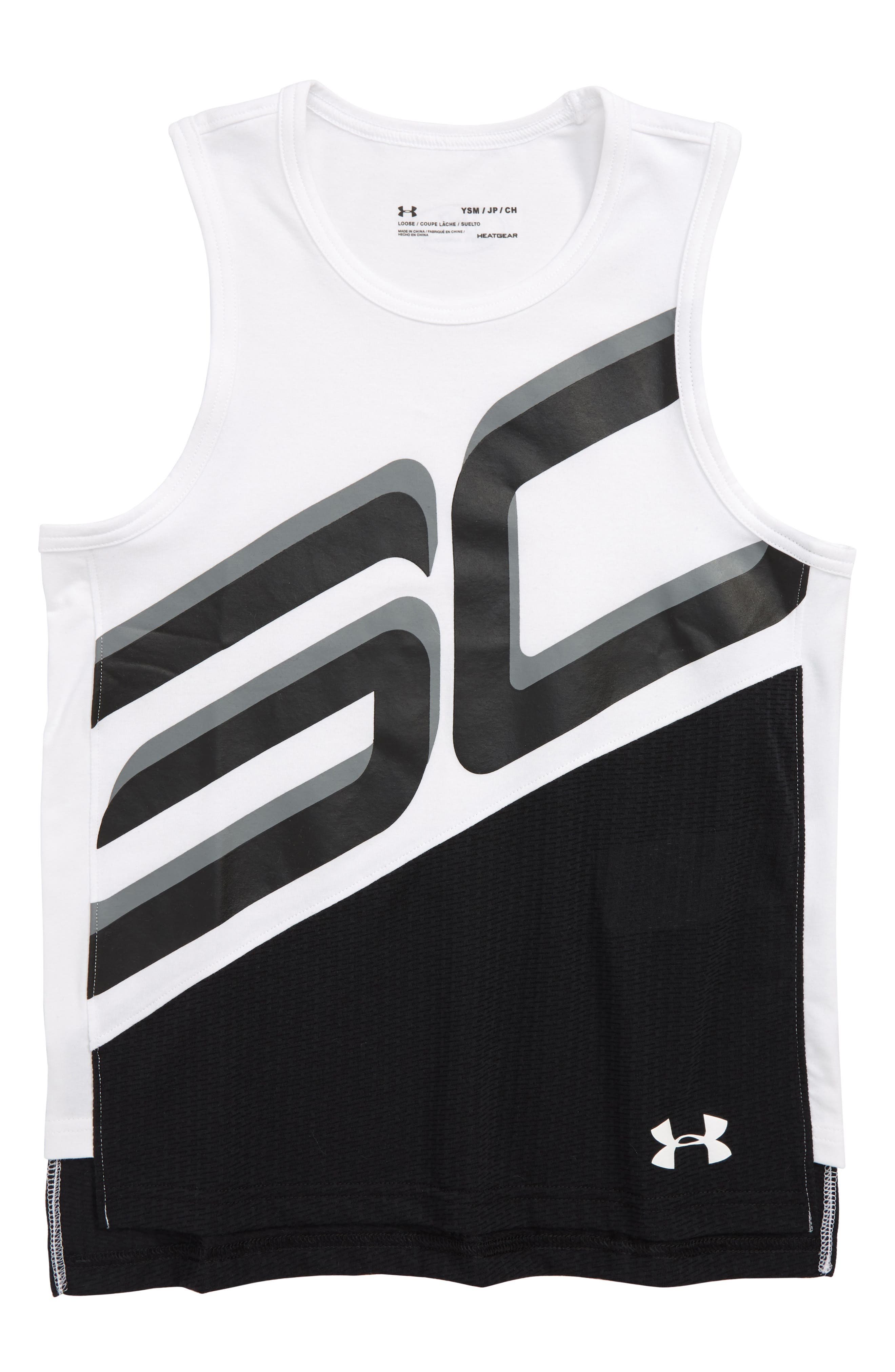SC30 HeatGear<sup>®</sup> Charged Cotton<sup>®</sup> Tank,                         Main,                         color, White/ Black