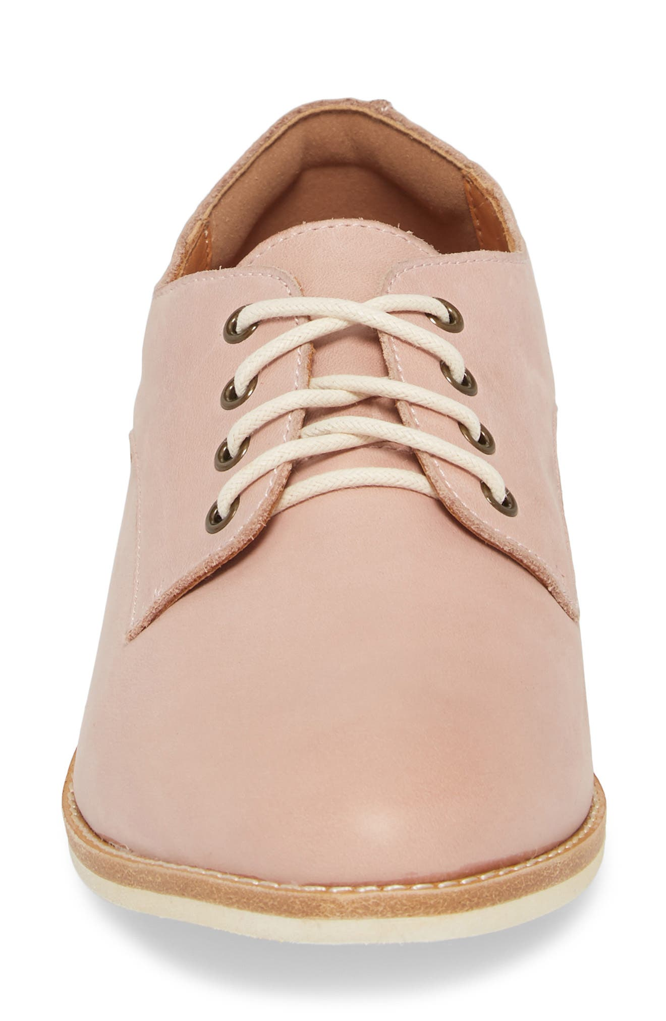 Derby Oxford,                             Alternate thumbnail 6, color,                             Snow Pink Leather