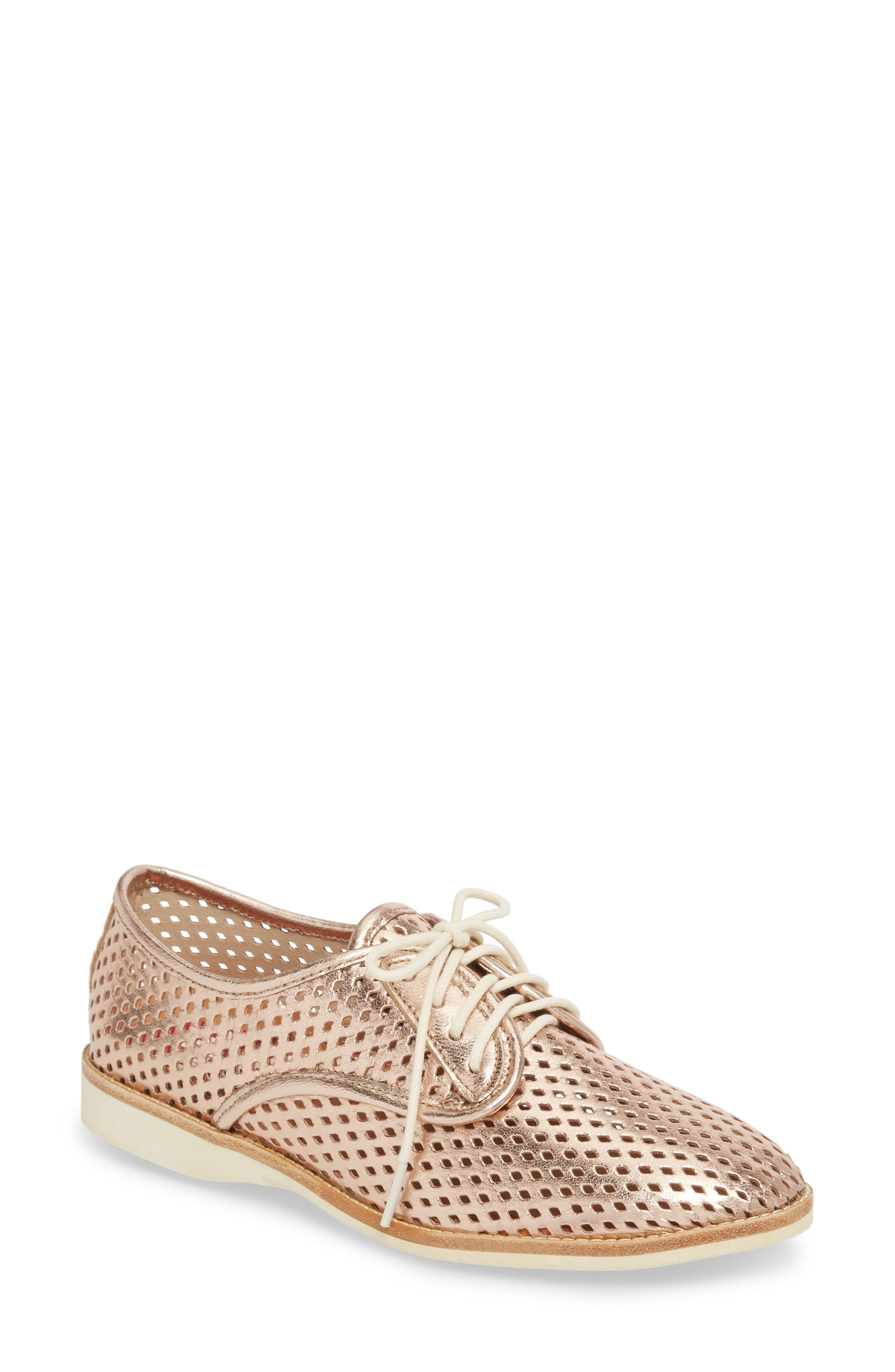 Punch Perforated Derby,                             Main thumbnail 1, color,                             Rose Gold Leather