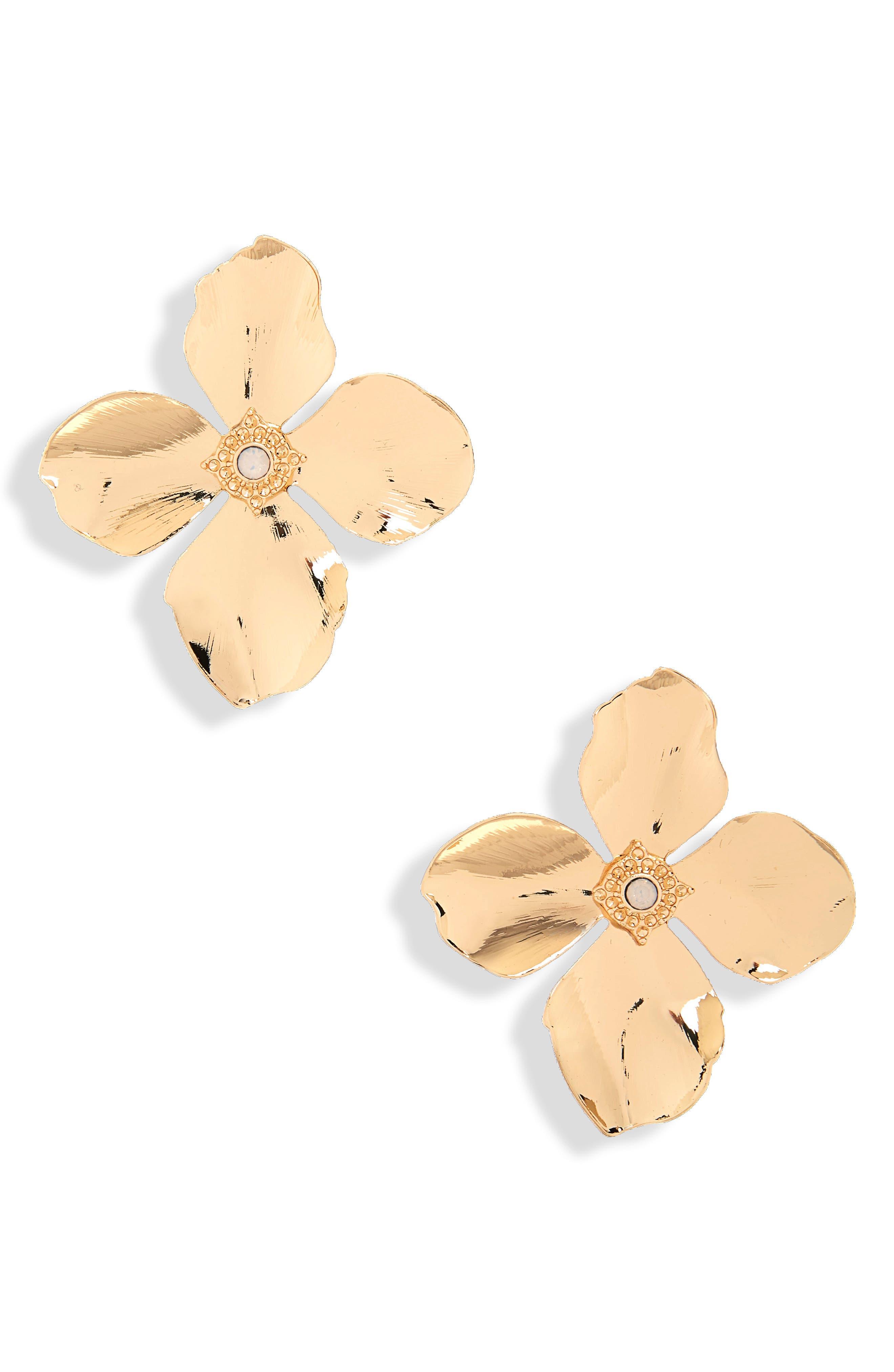Azalea Floral Earrings,                             Main thumbnail 1, color,                             Yellow Gold