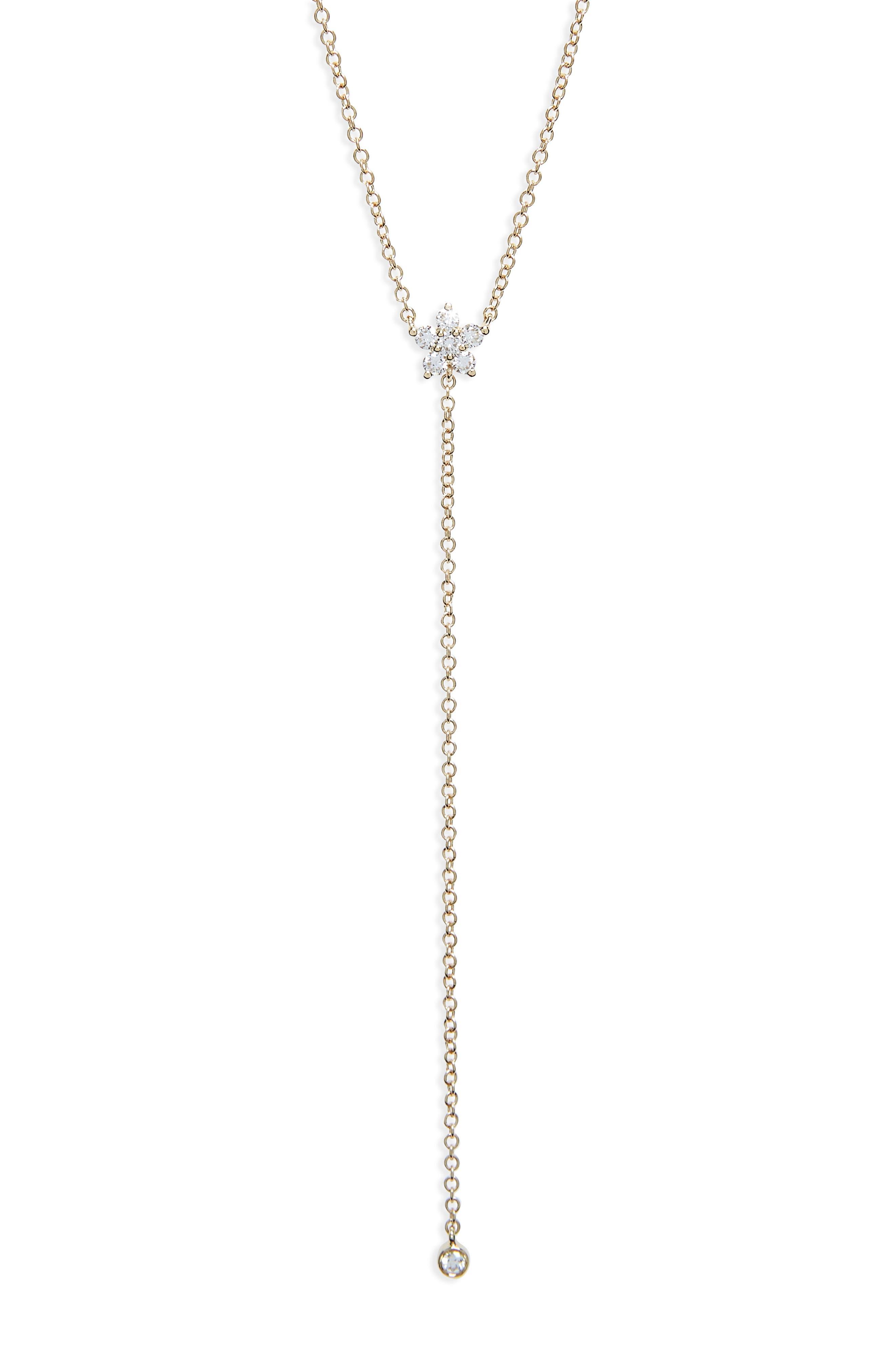 Diamond Flower Lariat Necklace,                             Alternate thumbnail 2, color,                             Yellow Gold