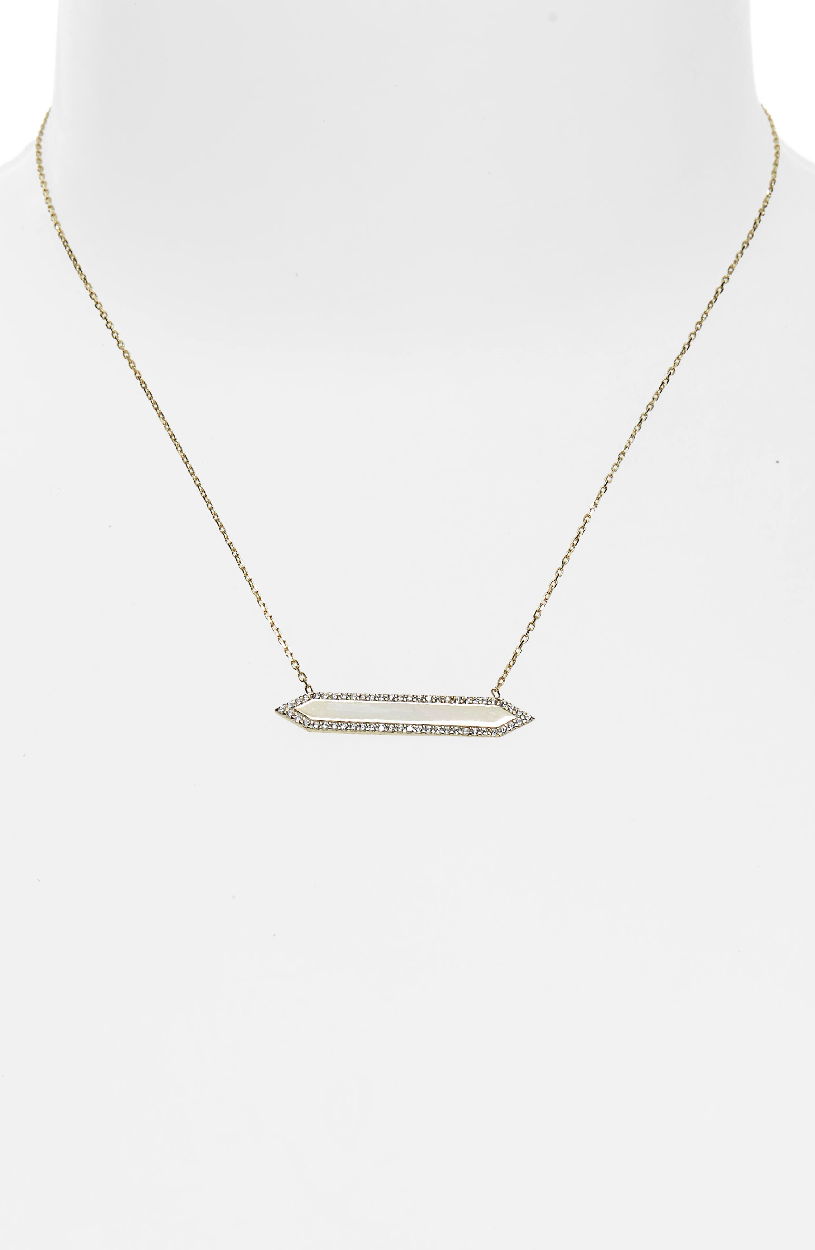 Mariah Pavé Crystal Bar Pendant Necklace,                             Alternate thumbnail 2, color,                             Yellow Gold