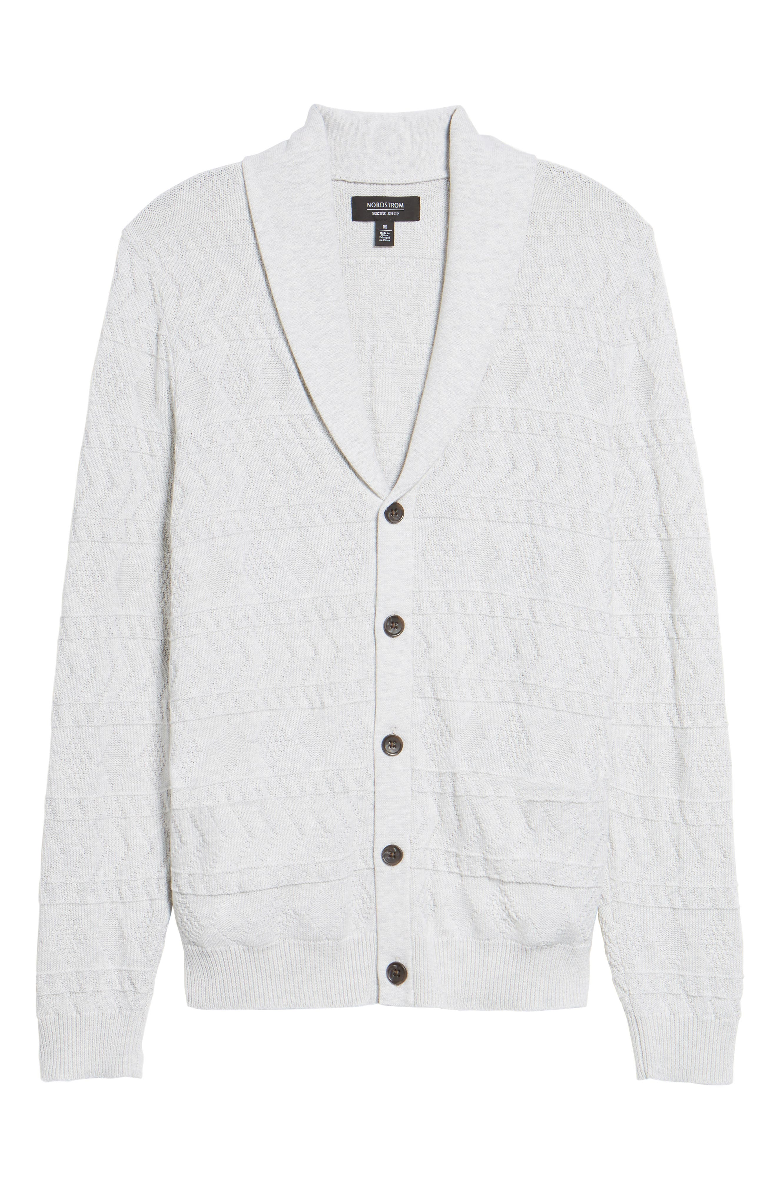 Cotton Cardigan,                             Alternate thumbnail 6, color,                             Grey Micro Heather