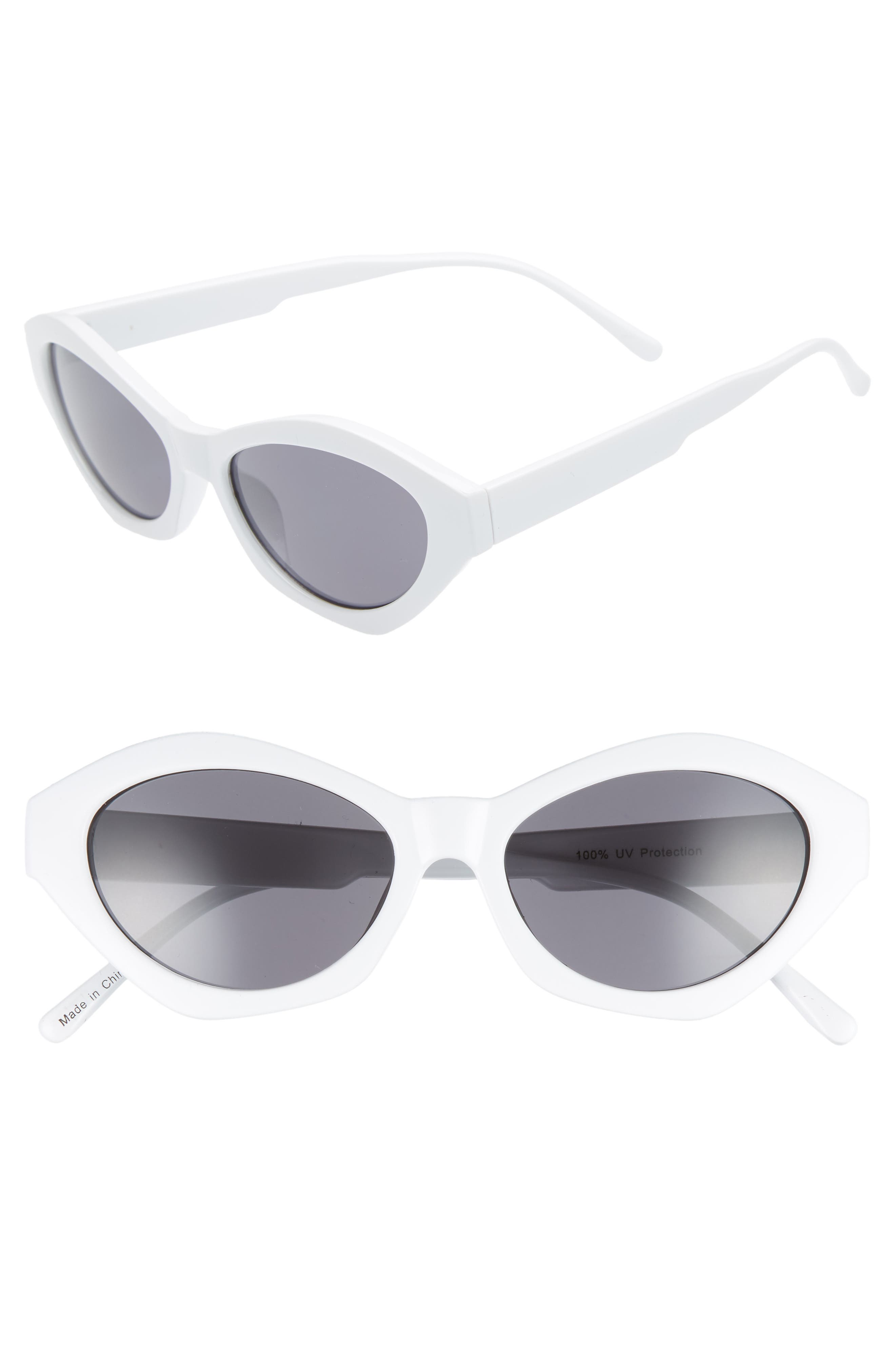 58mm Curved Cat Eye Sunglasses,                             Main thumbnail 1, color,                             White