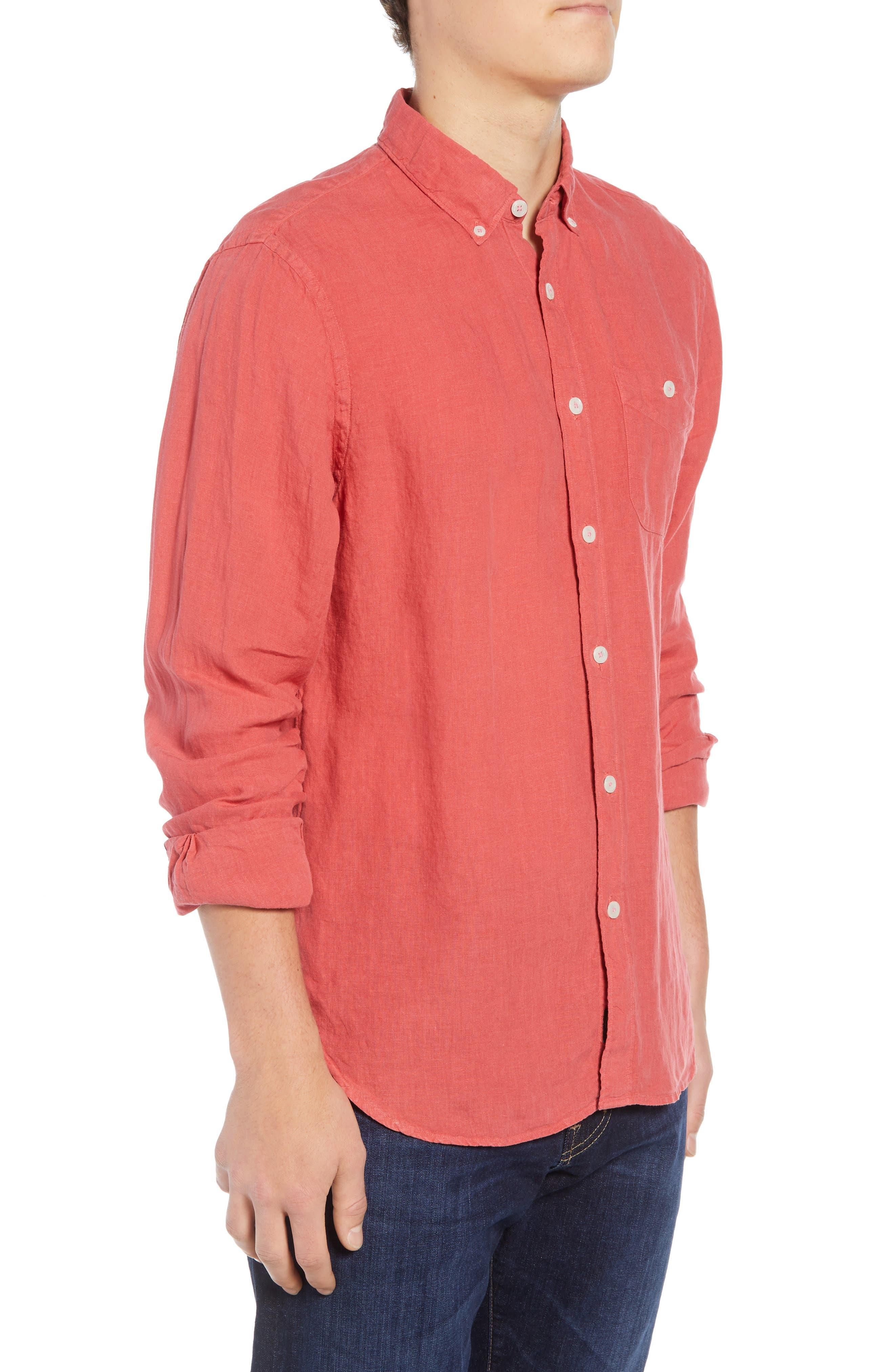 Regular Fit Linen Sport Shirt,                             Alternate thumbnail 4, color,                             Bowery Red