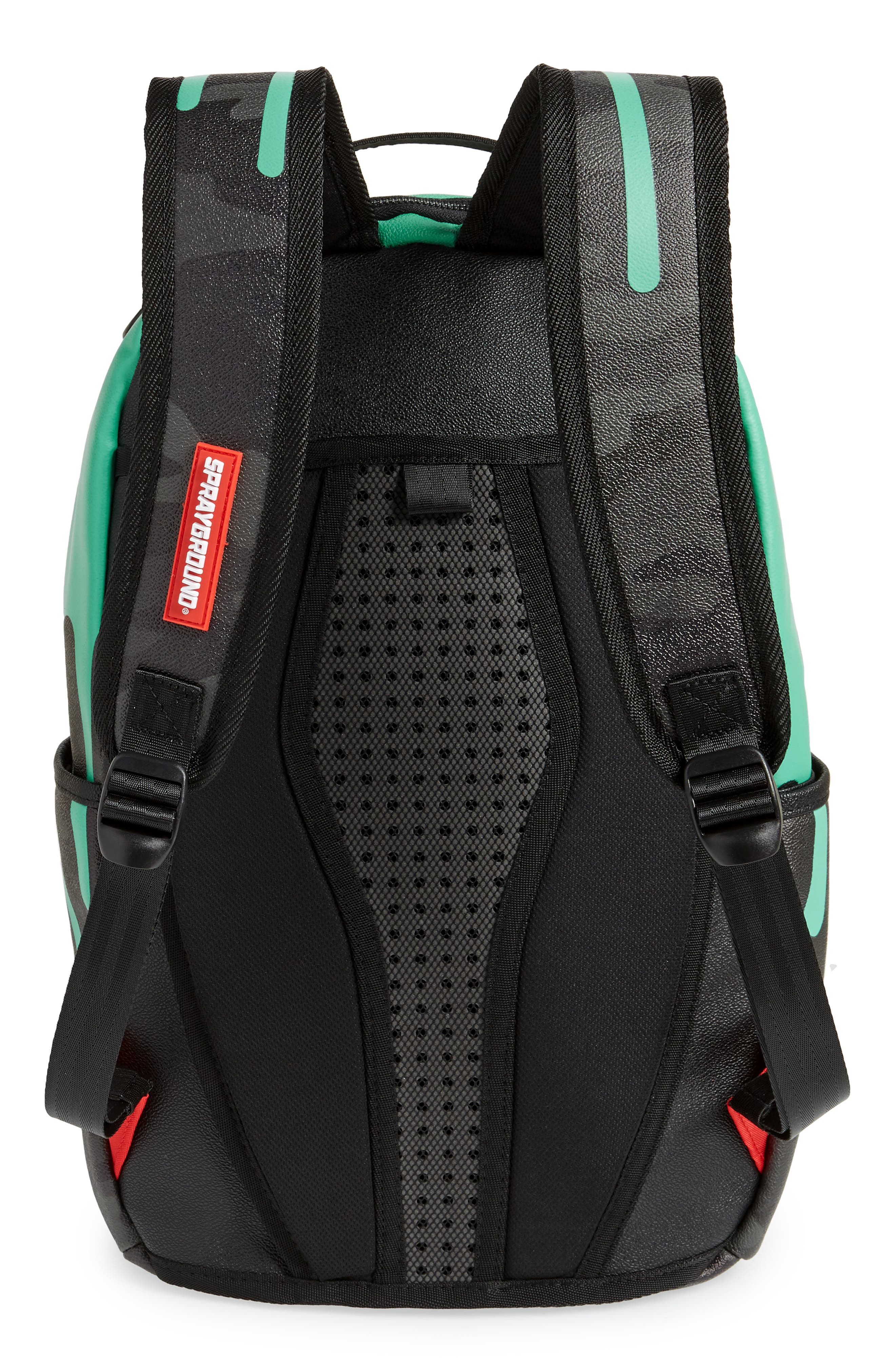 Tiff Drips Print Backpack,                             Alternate thumbnail 3, color,                             Camo/ Teal