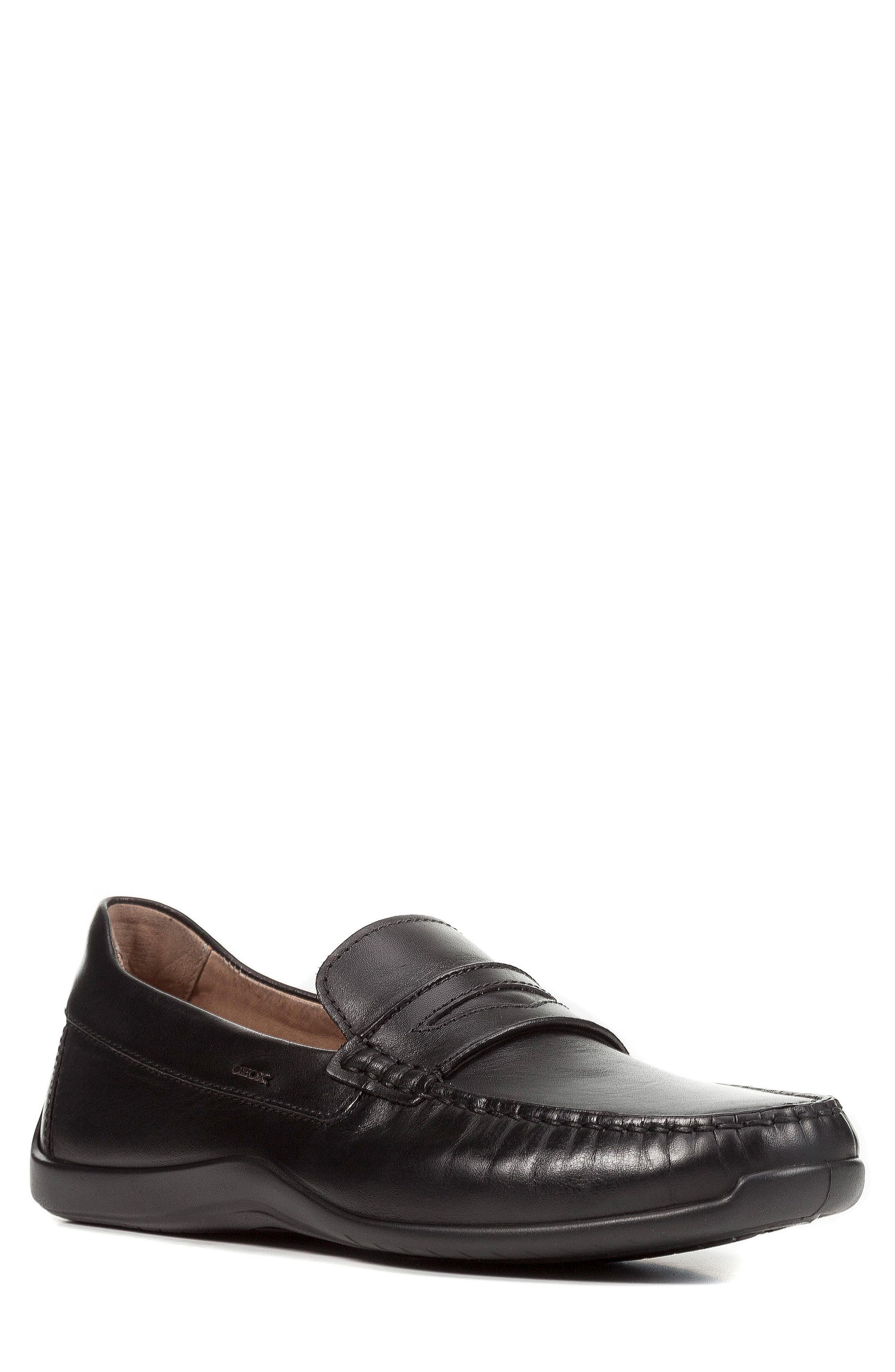 Xense Penny Loafer,                         Main,                         color, Black Leather