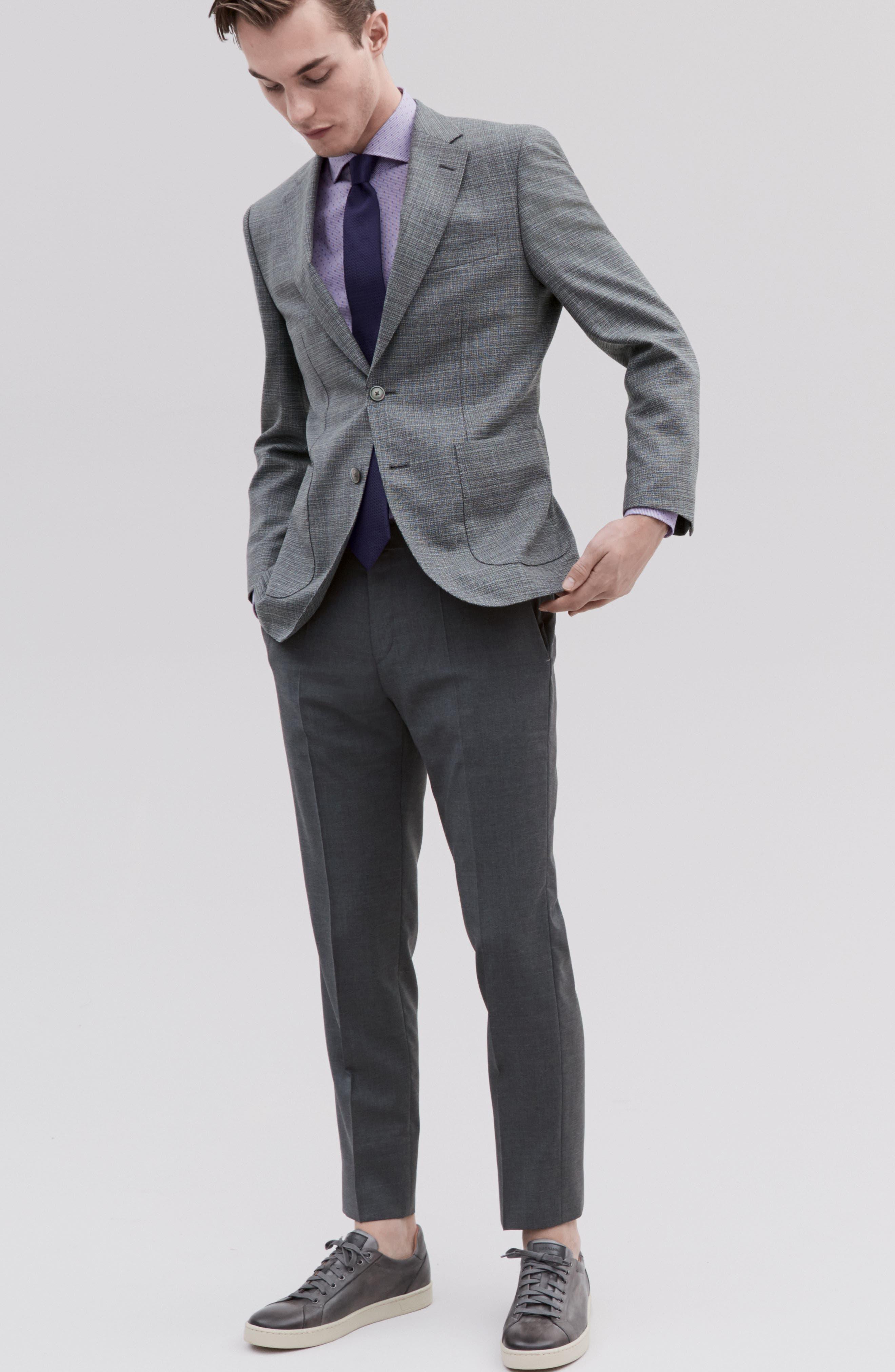 Genesis Flat Front Trim Fit Wool Trousers,                             Alternate thumbnail 7, color,
