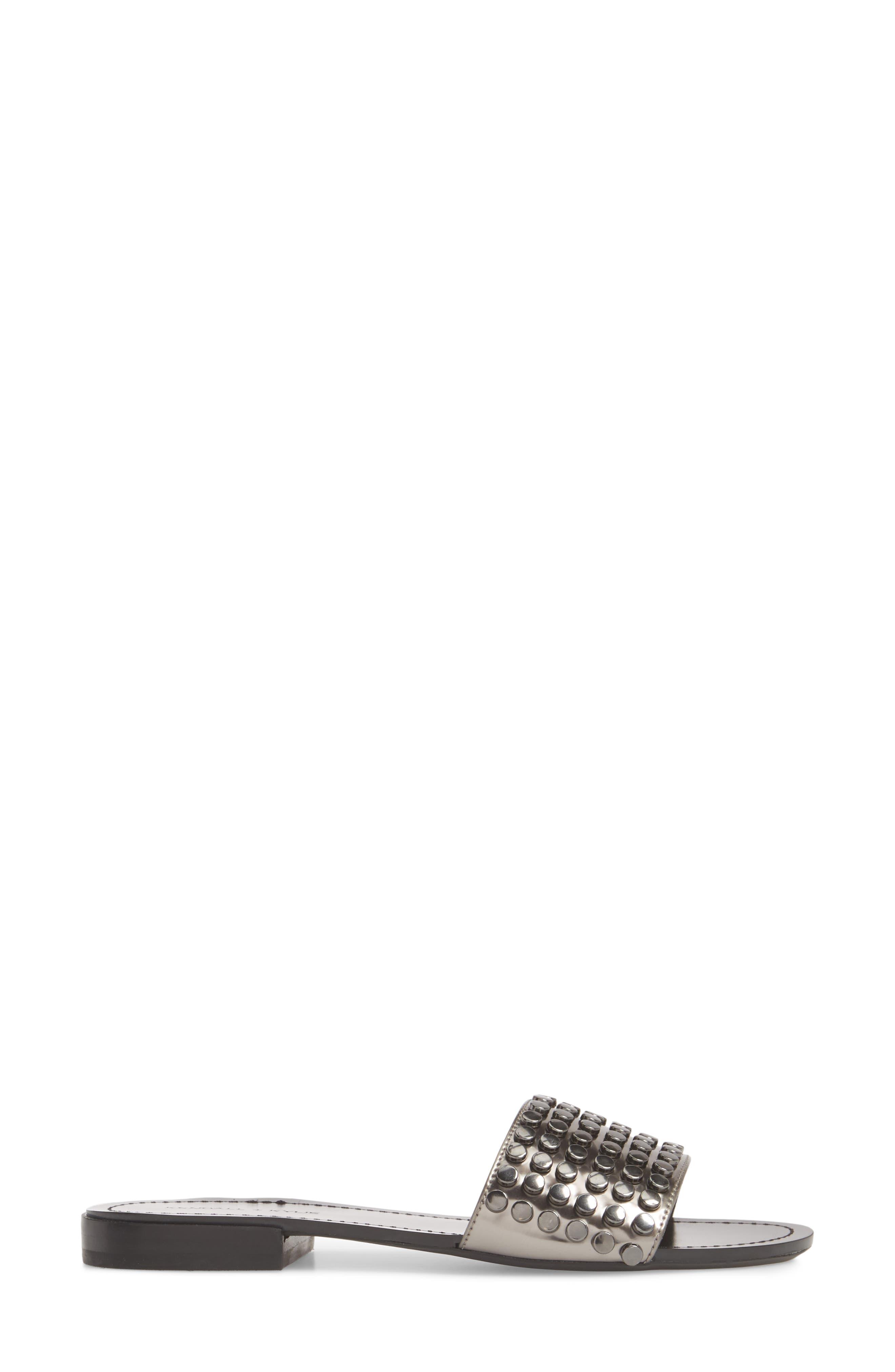 Kelsy Slide Sandal,                             Alternate thumbnail 3, color,                             Pewter