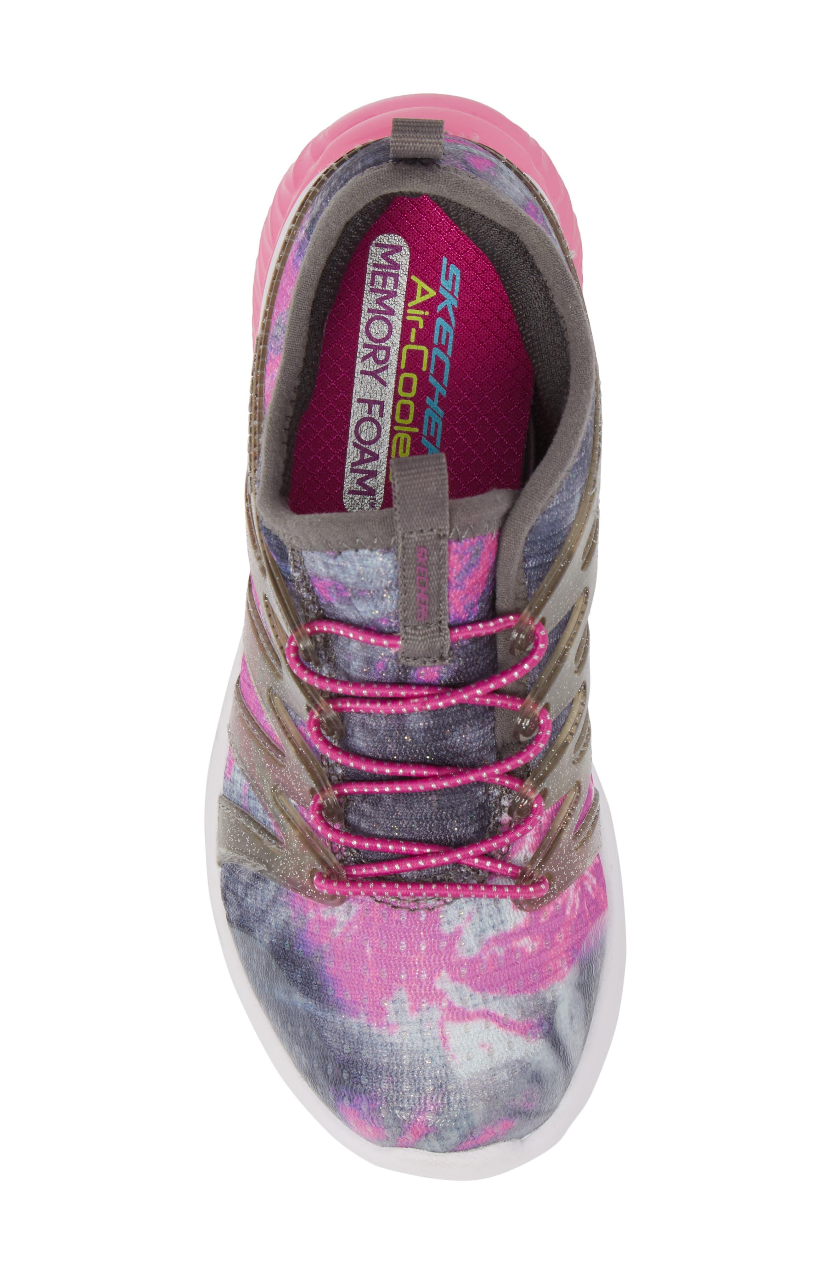 Skech Gem Glitter Sneaker,                             Alternate thumbnail 4, color,                             Charcoal/ Hot Pink