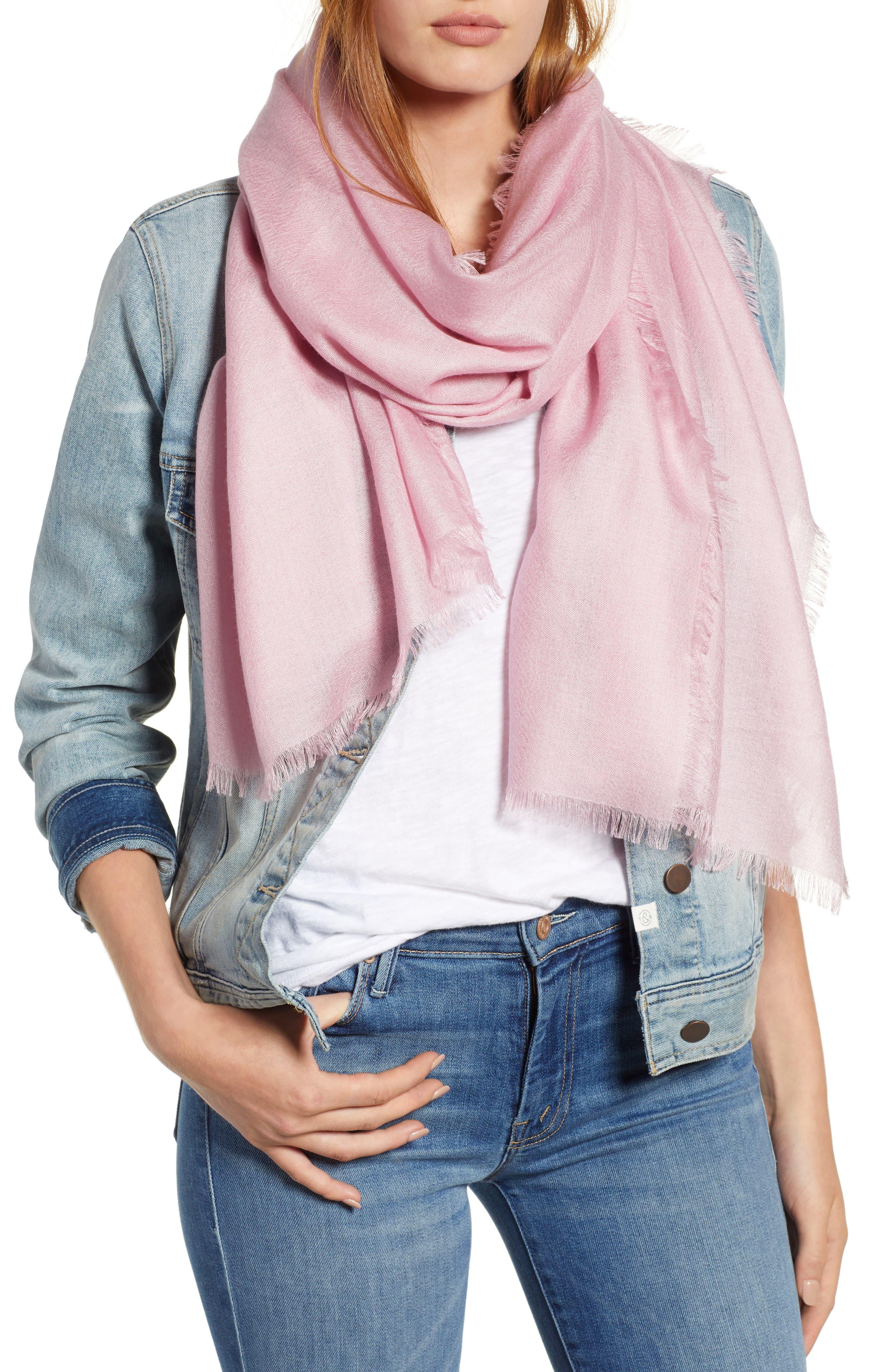Cashmere & Silk Wrap,                             Main thumbnail 1, color,                             Pink Carnation