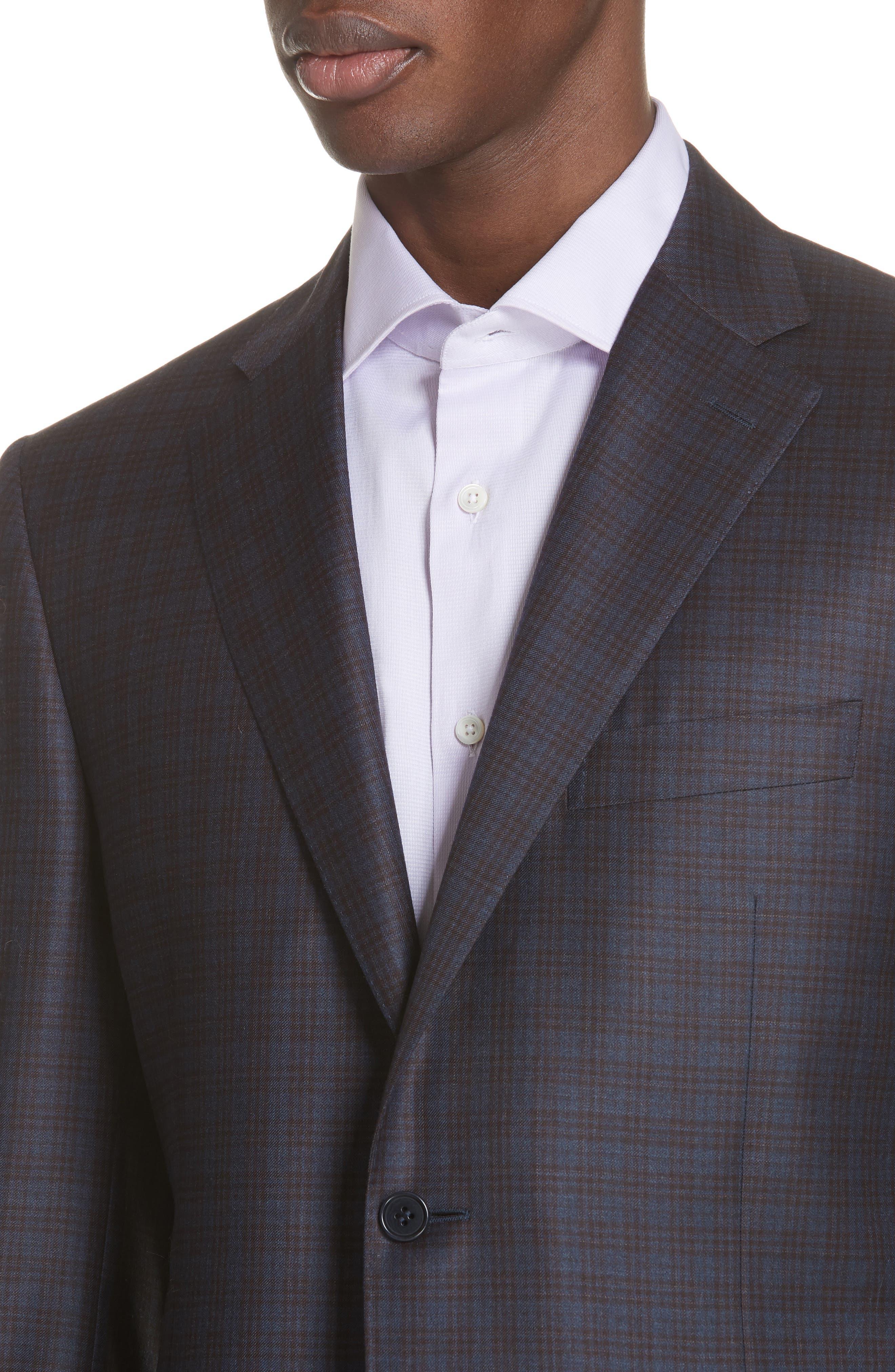 Classic Fit Plaid Wool Sport Coat,                             Alternate thumbnail 4, color,                             Dark Blue