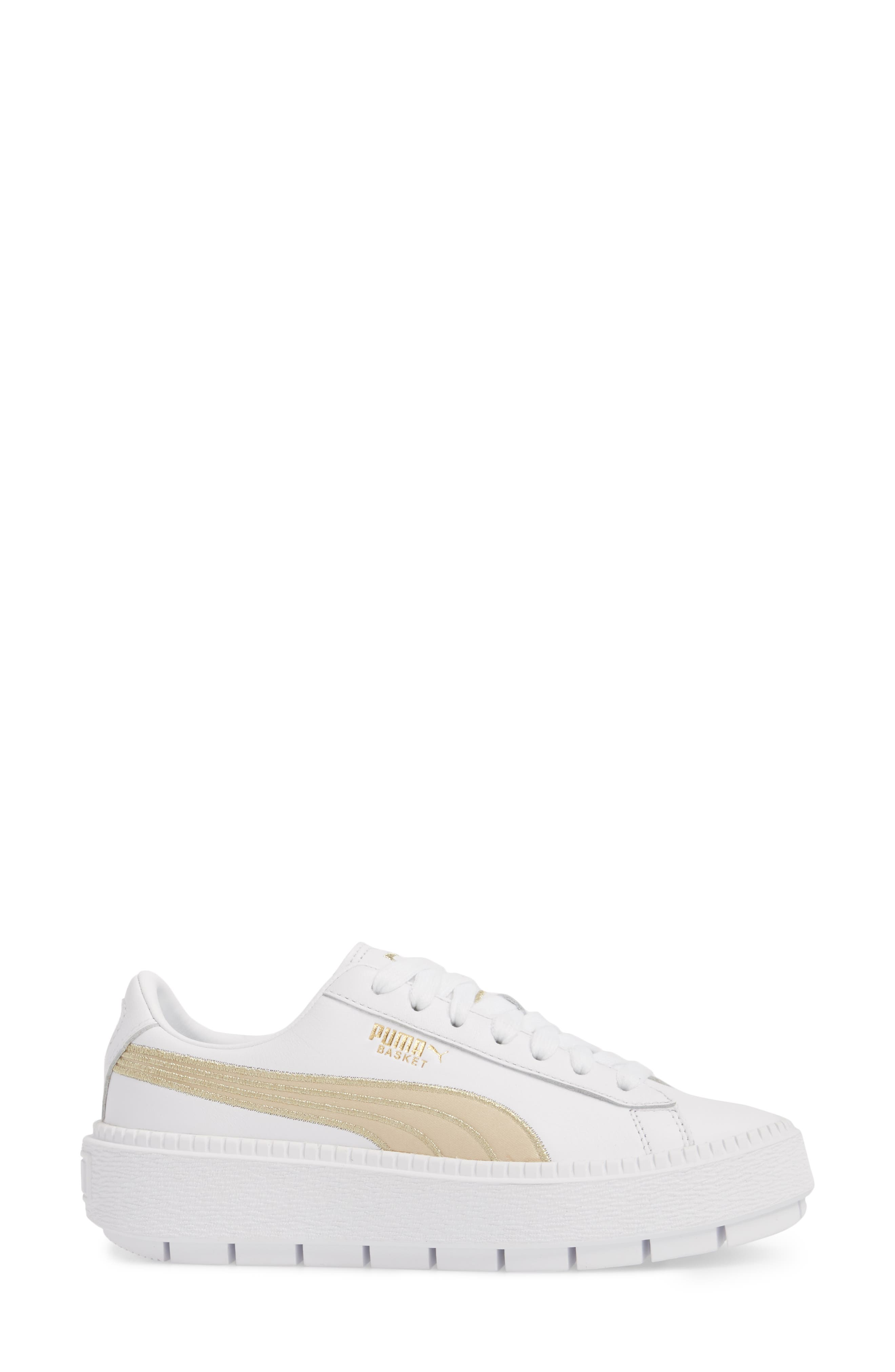 Platform Trace Sneaker,                             Alternate thumbnail 6, color,                             Puma White/ Metallic Gold