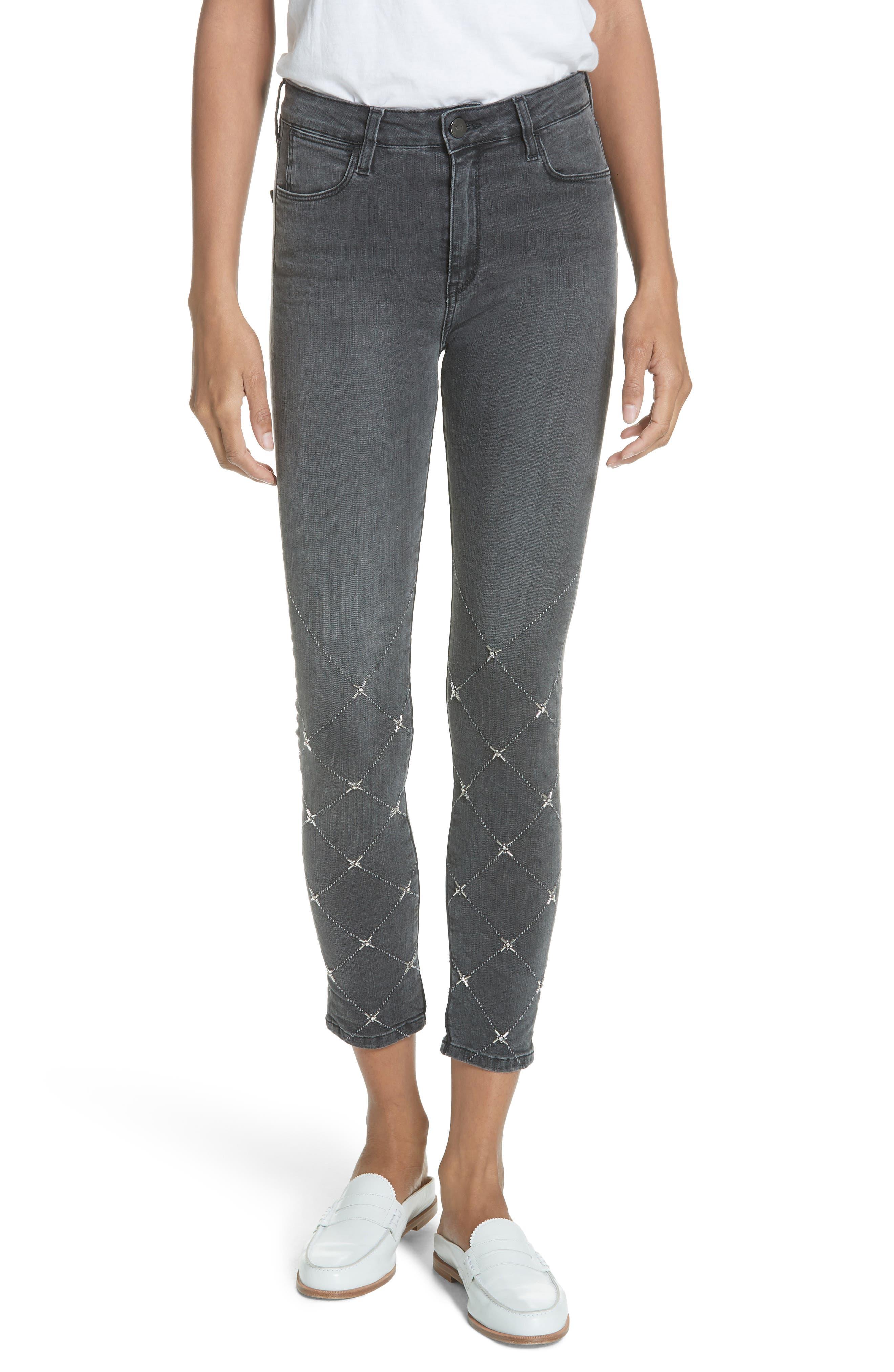 BROCKEN BOW Sakana Reina Embellished Ankle Skinny Jeans in Medium Grey