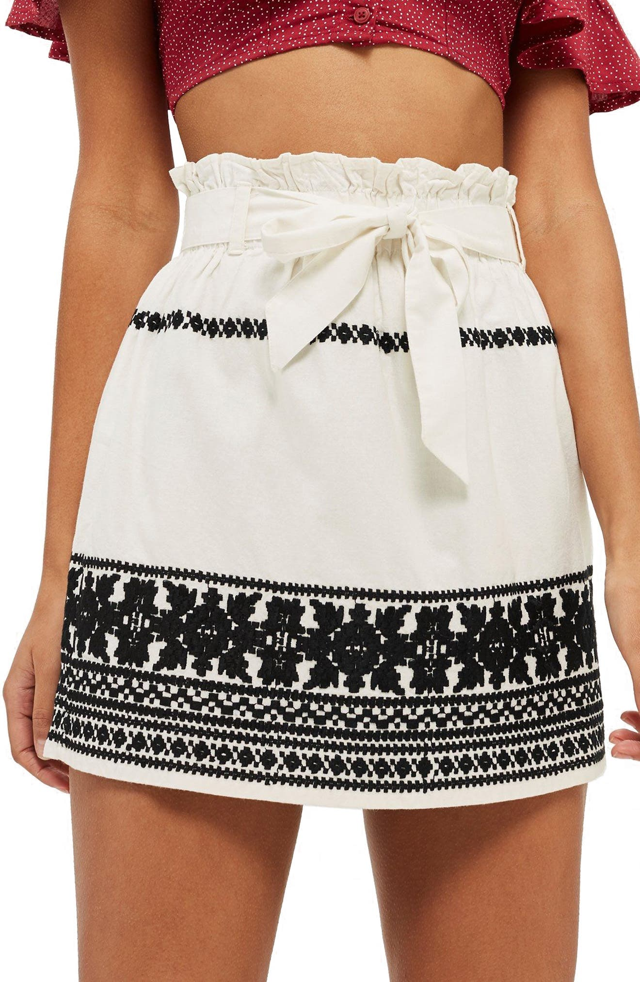 Culture Embroidered Paperbag Skirt,                             Main thumbnail 1, color,                             Ivory