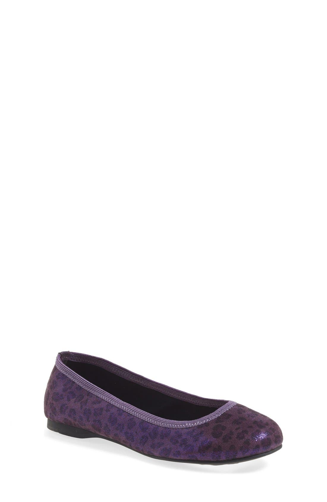 'Josie' Flat,                         Main,                         color, Purple Leopard Fabric